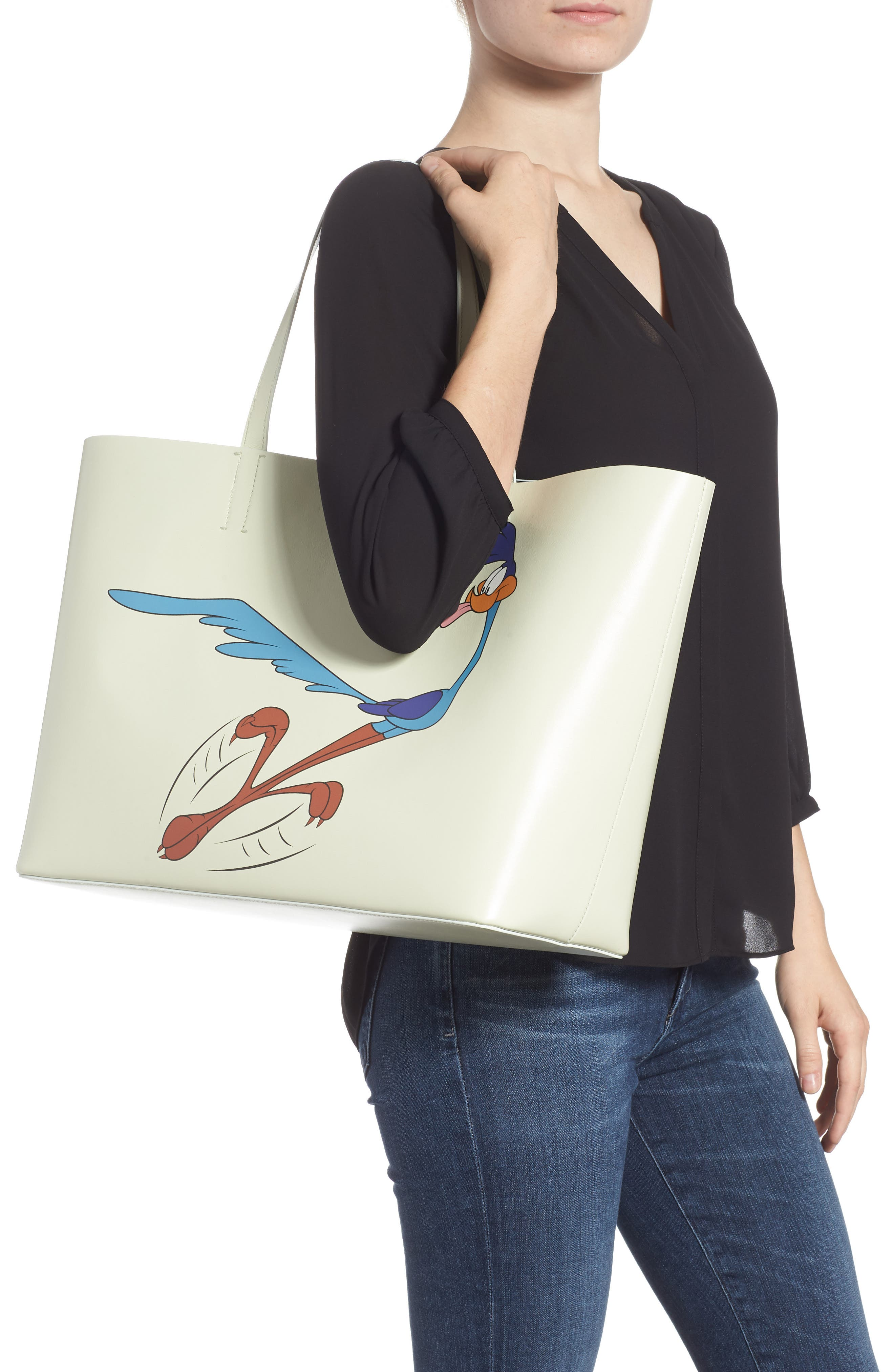 CALVIN KLEIN 205W39NYC,                             Road Runner East/West Leather Tote,                             Alternate thumbnail 2, color,                             053