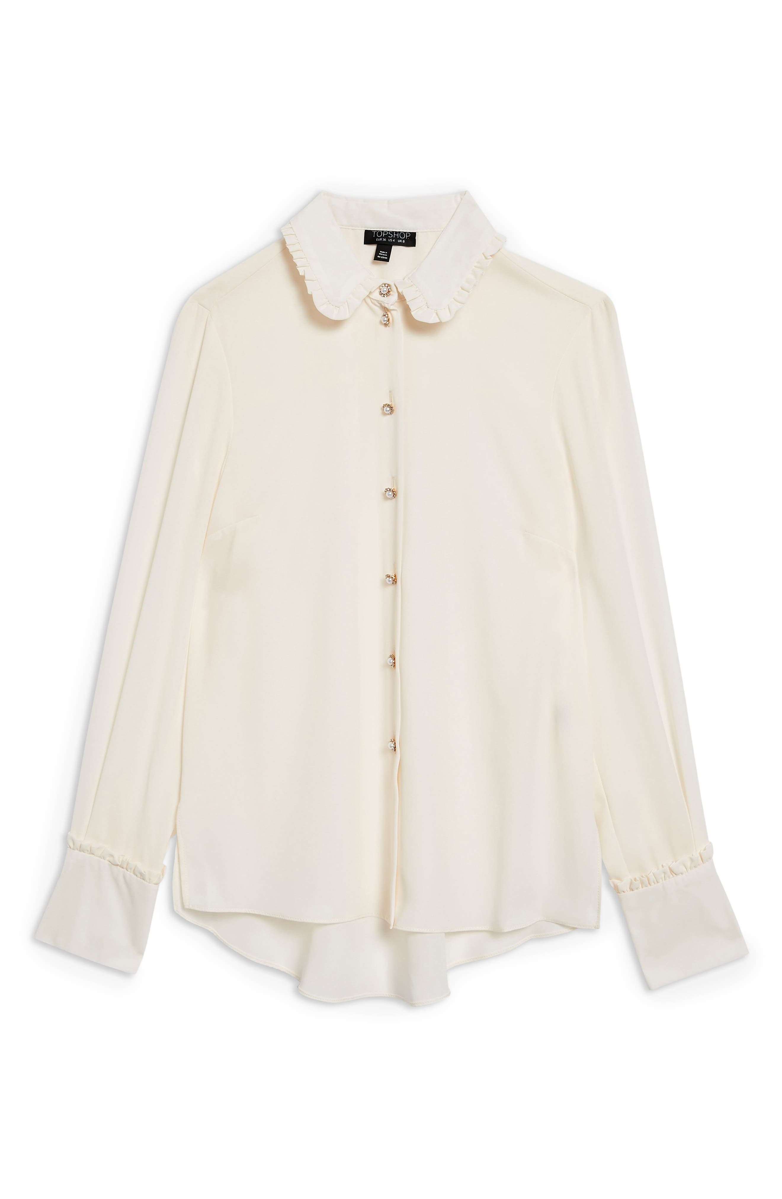 Ruffle Collar Shirt,                             Alternate thumbnail 4, color,                             CREAM