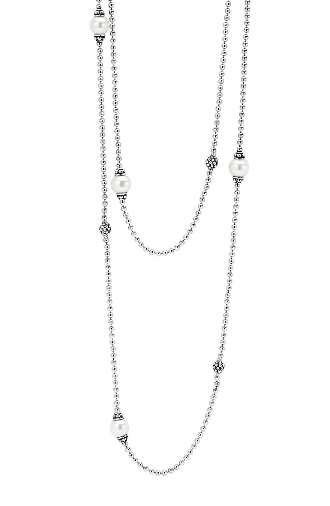 'Luna' Double Strand Pearl Station Necklace,                             Main thumbnail 1, color,                             SILVER/ PEARL