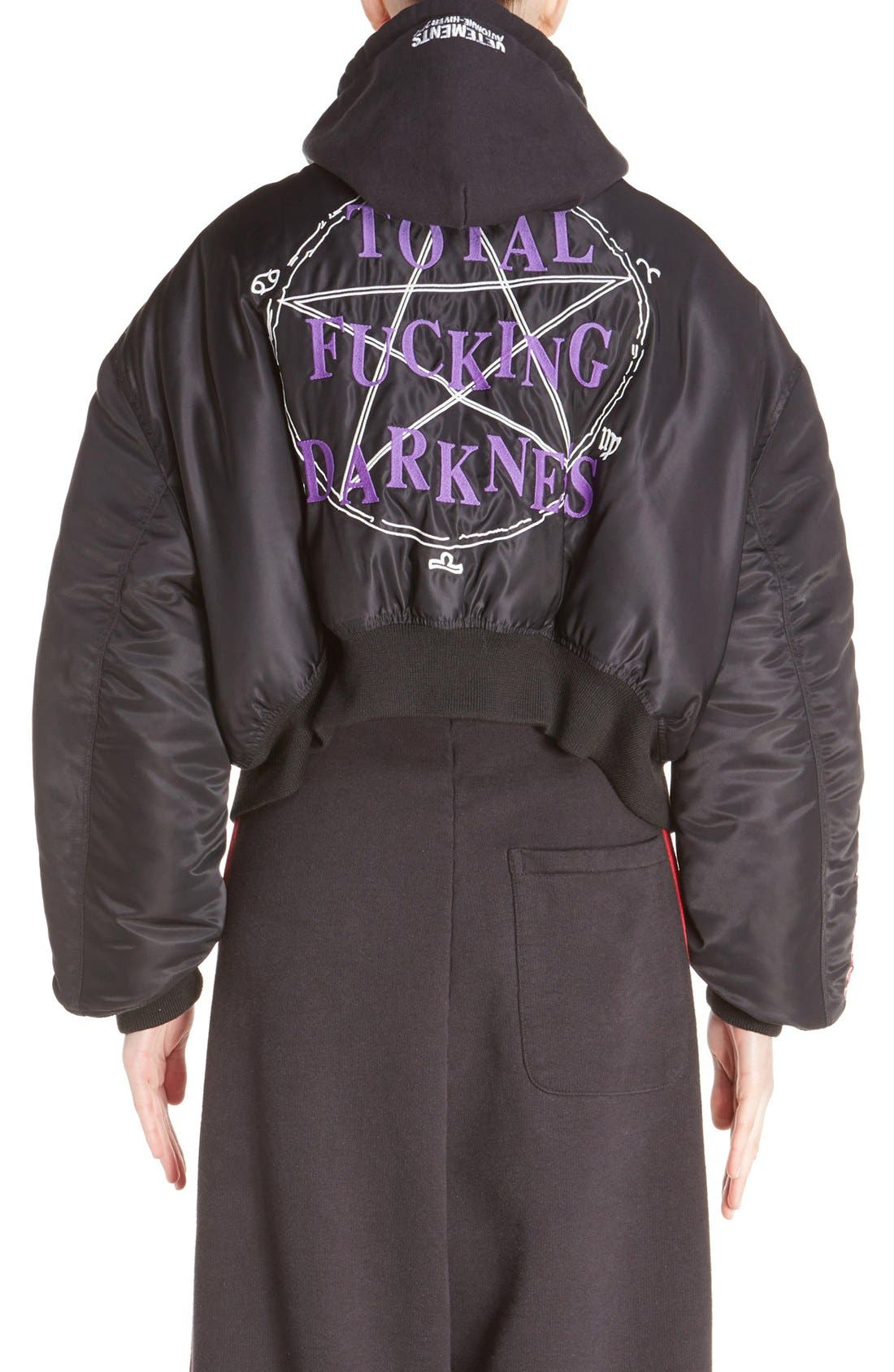 Embroidered Bomber Jacket,                             Alternate thumbnail 4, color,                             001