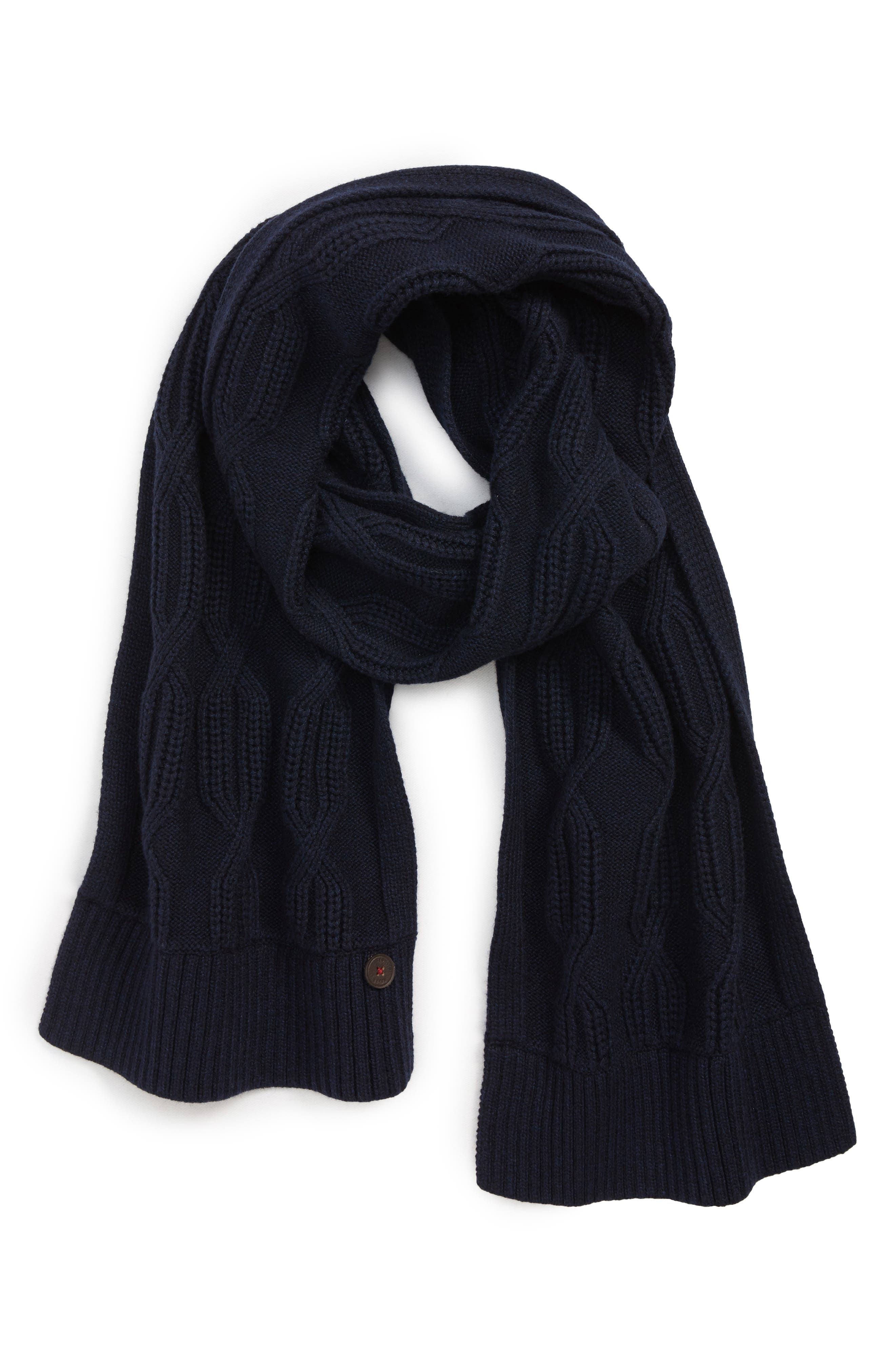 Cable Knit Scarf, Main, color, NAVY