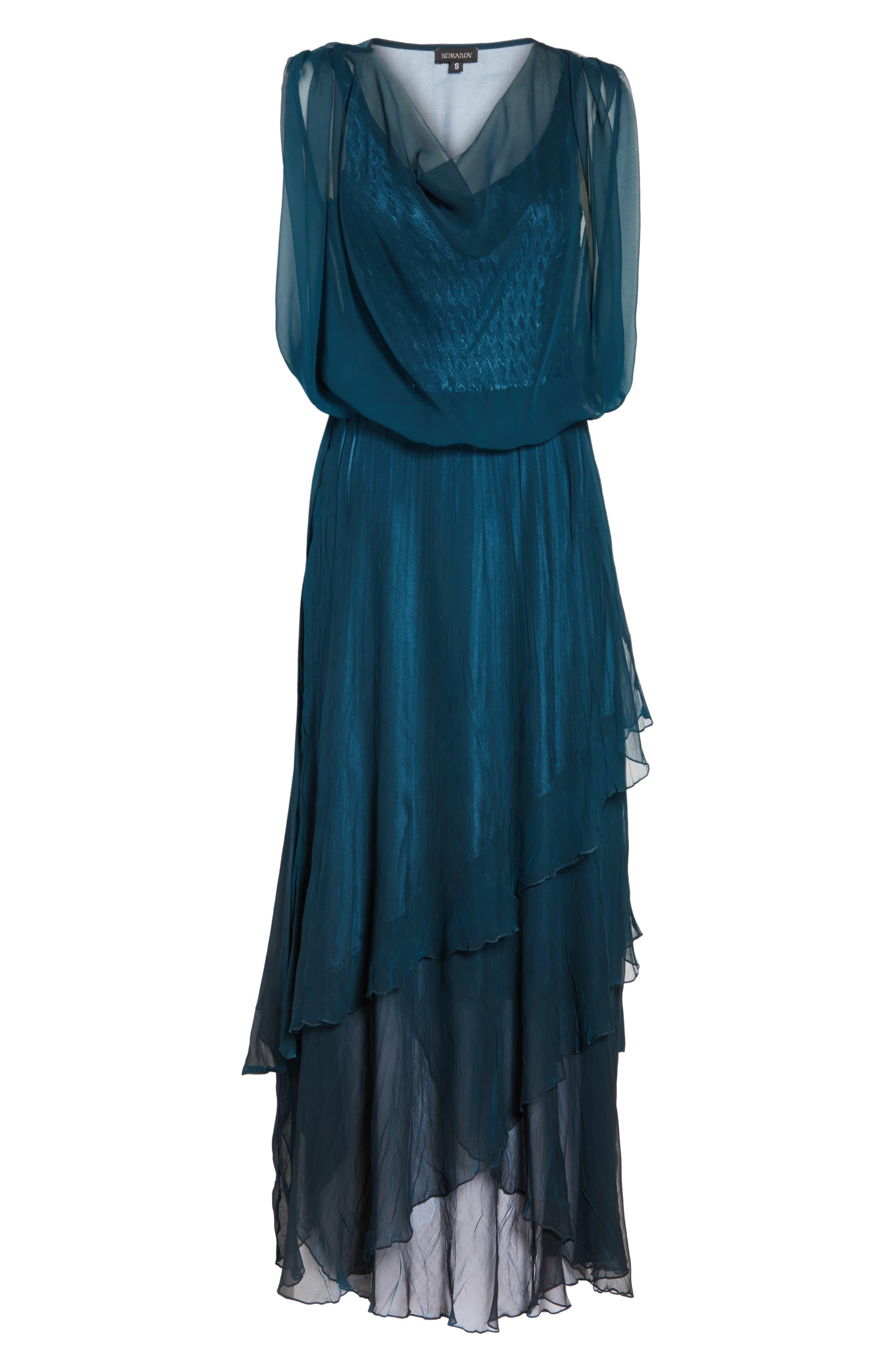 Chiffon Overlay Long Blouson Dress,                             Alternate thumbnail 6, color,                             400