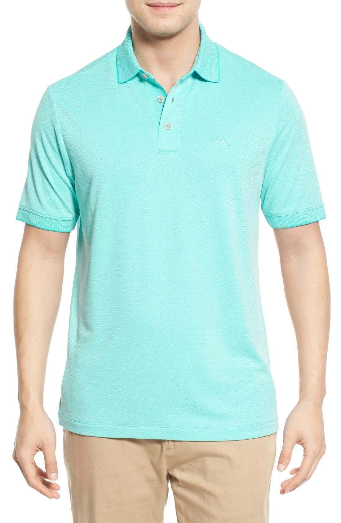 Ocean View Short Sleeve Jacquard Polo,                             Main thumbnail 5, color,
