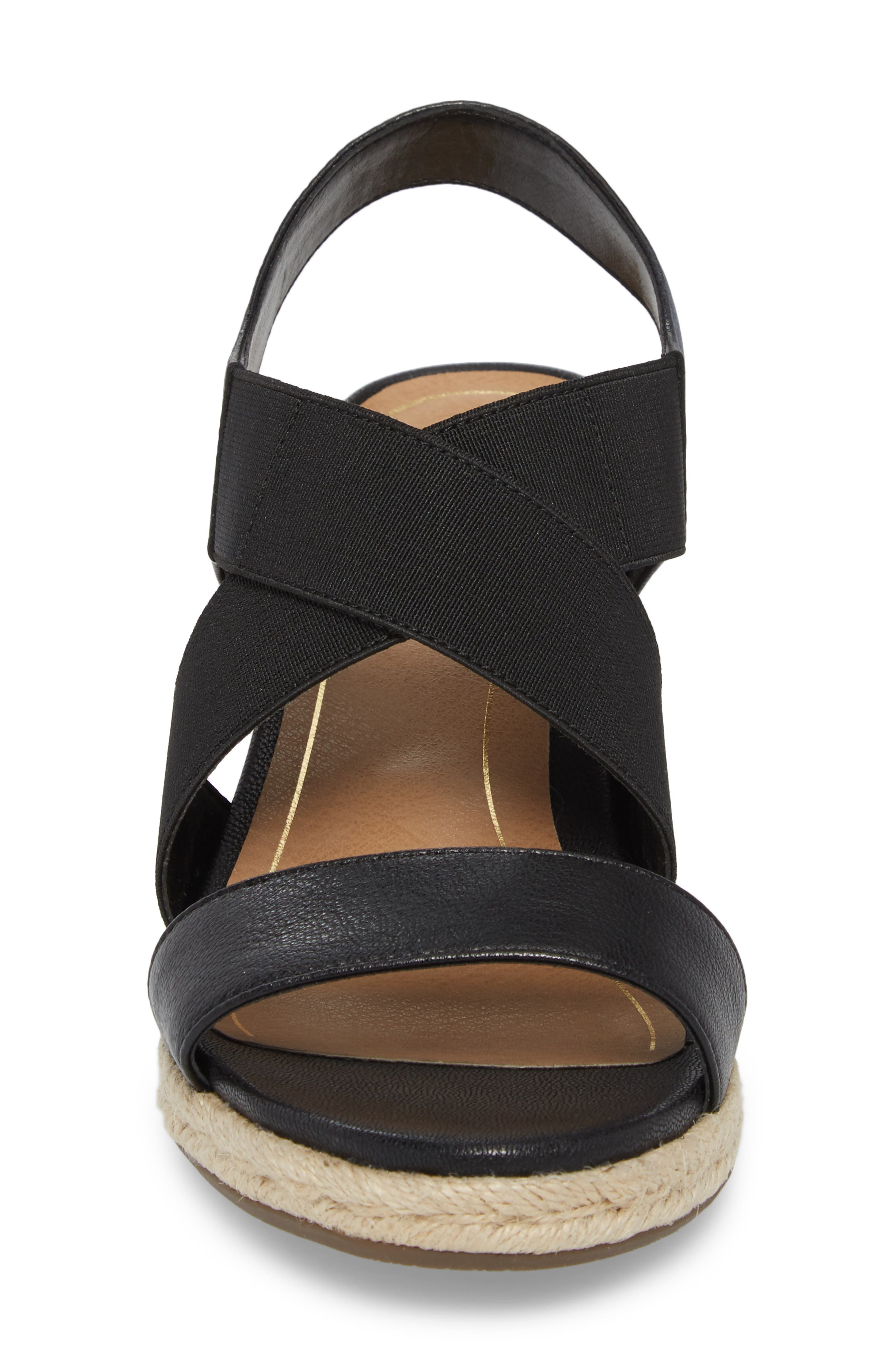Ainsleigh Wedge Sandal,                             Alternate thumbnail 4, color,                             BLACK LEATHER
