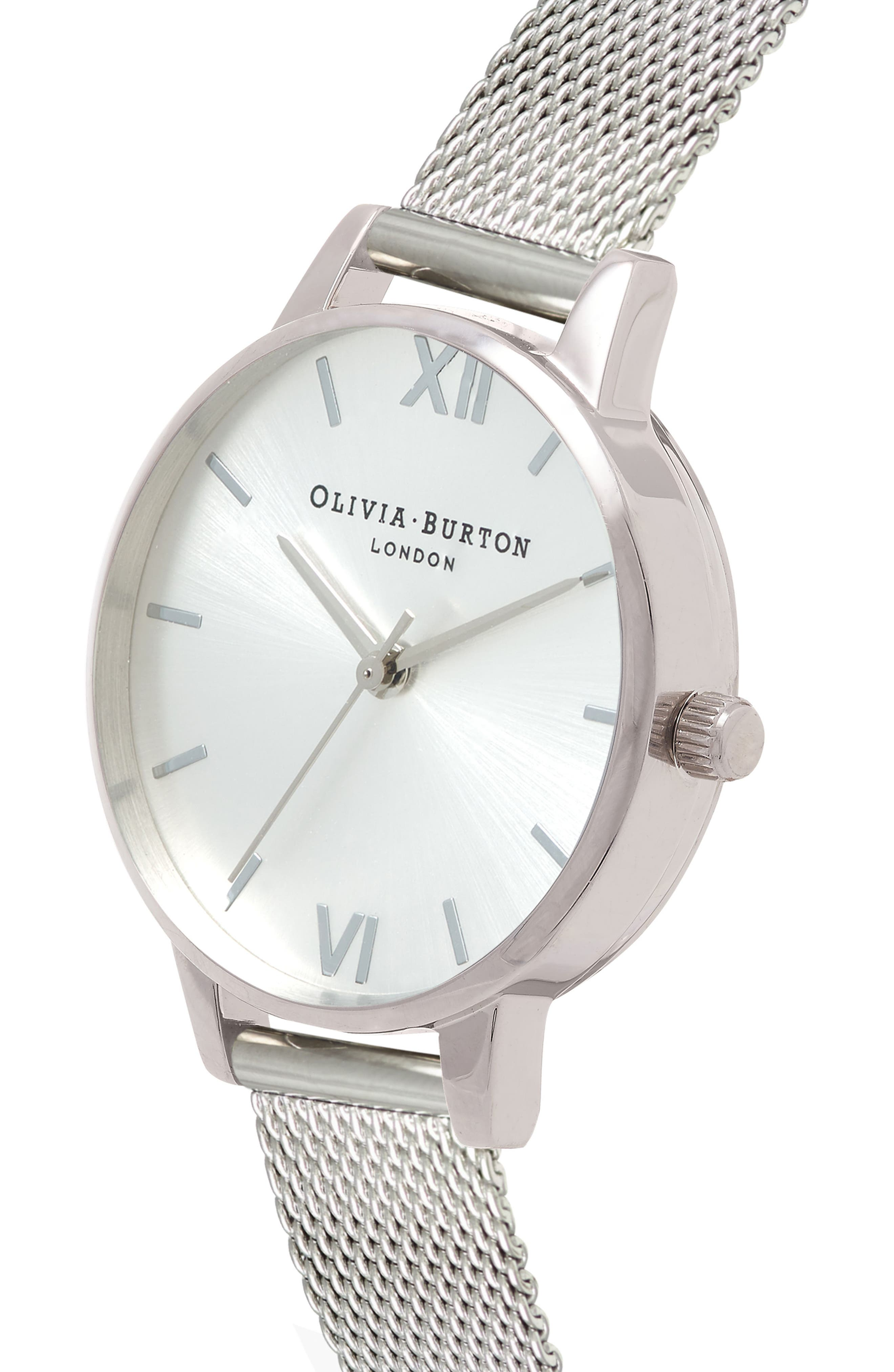 OLIVIA BURTON,                             Sunray Mesh Strap Watch, 30mm,                             Alternate thumbnail 4, color,                             SILVER