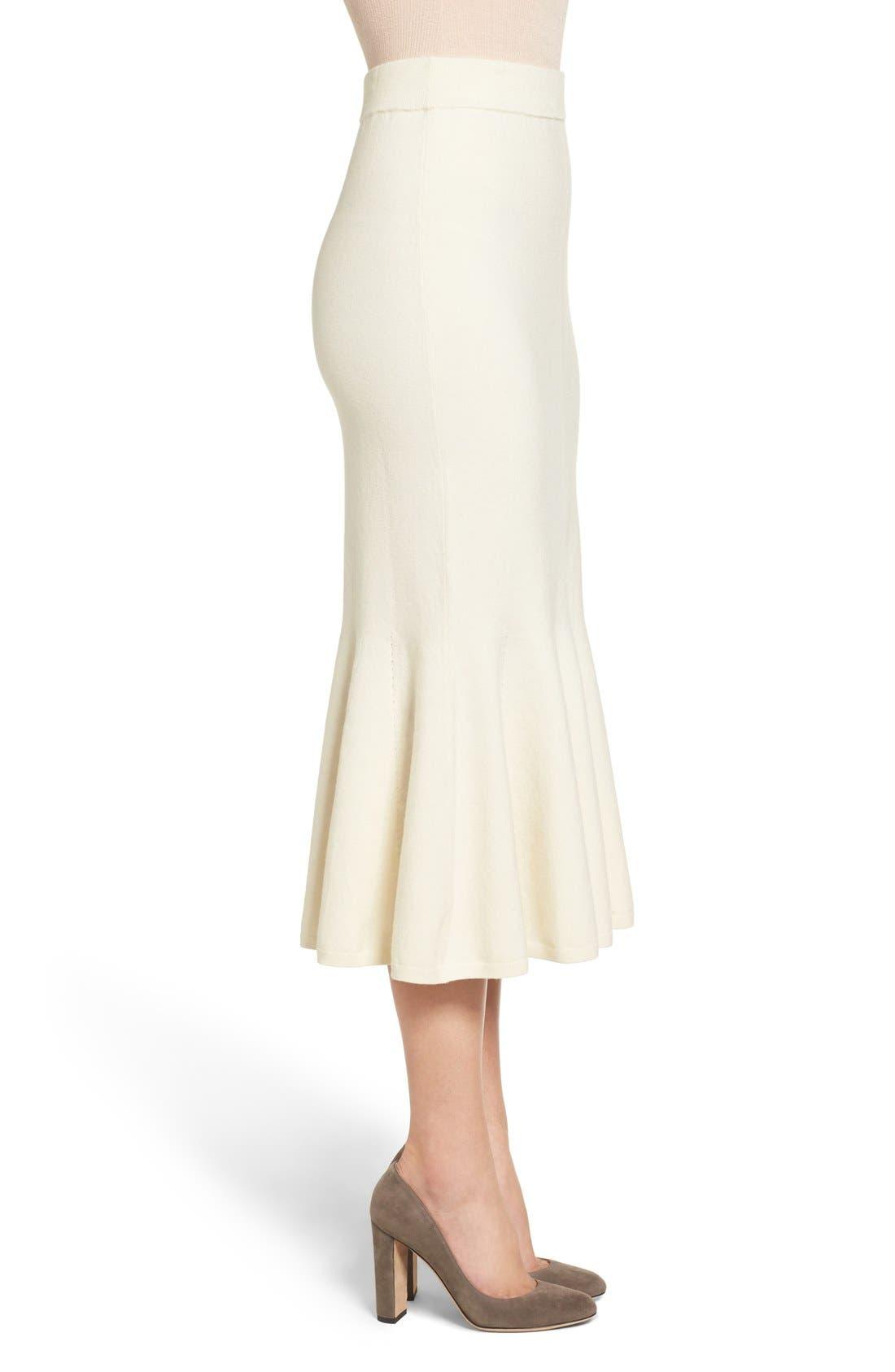 Fluted Wool Blend Skirt,                             Alternate thumbnail 3, color,                             900