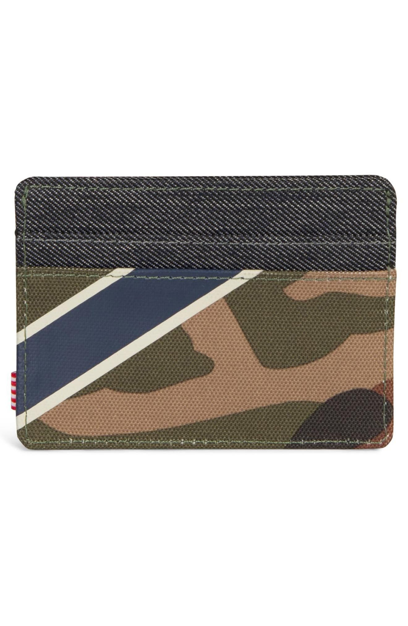 Charlie Card Case,                             Alternate thumbnail 3, color,                             WOODLAND/ SILVER GREEN/ DENIM