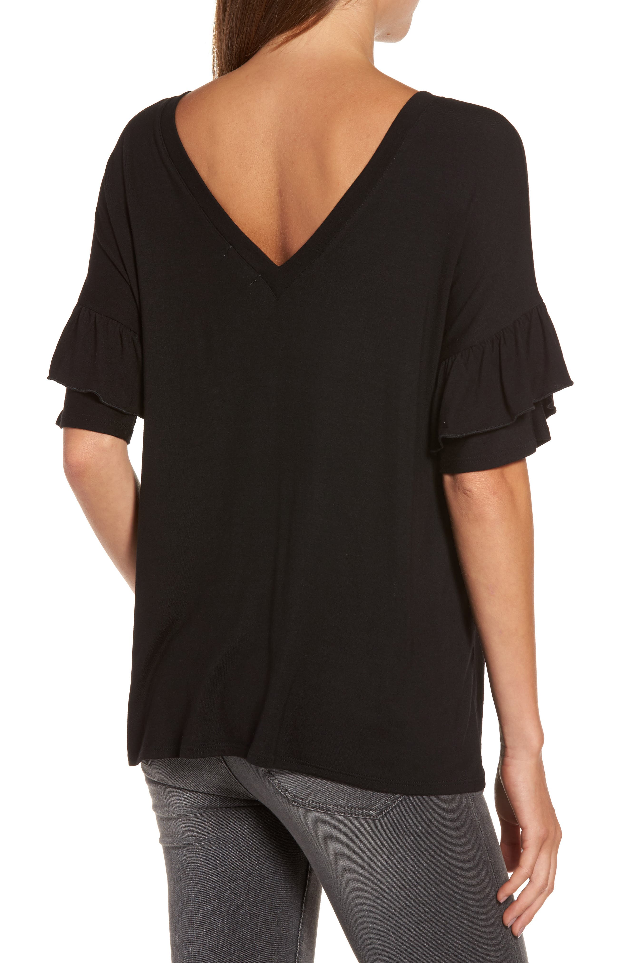 Ruffle Sleeve Tee,                             Alternate thumbnail 2, color,                             001