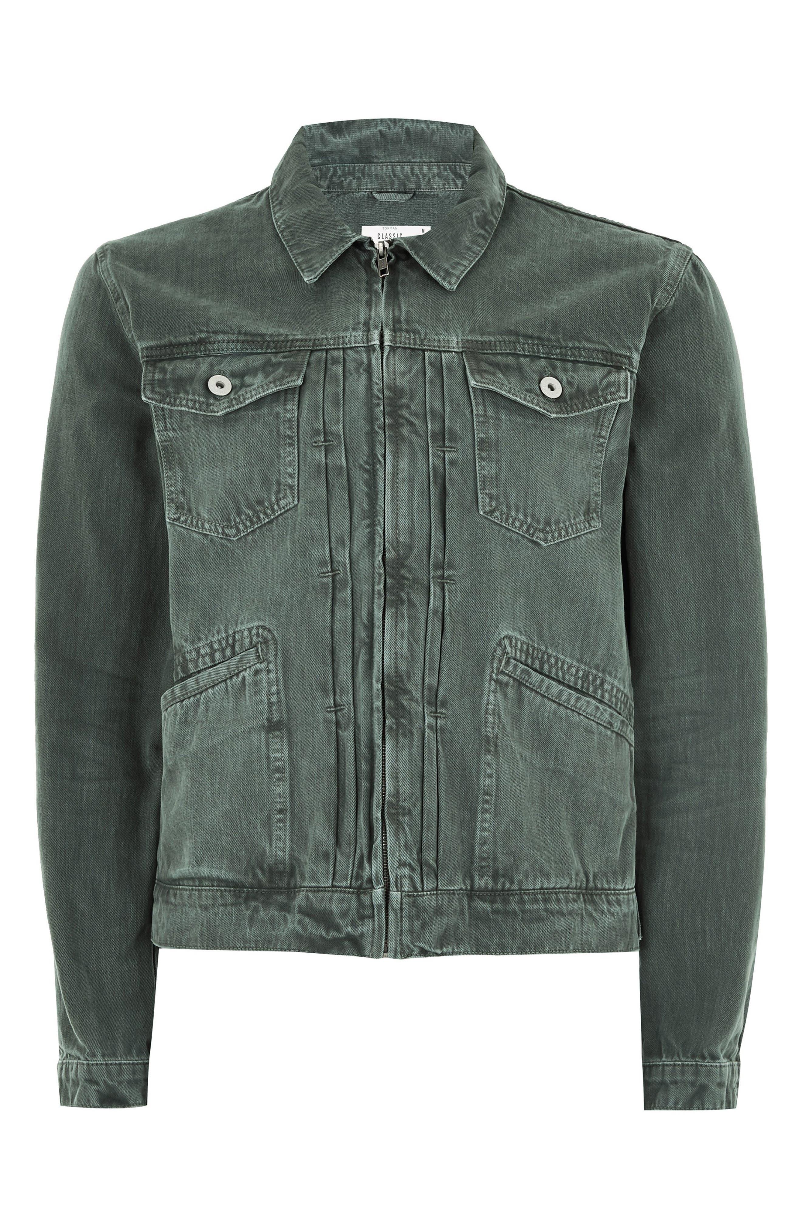 Zip Denim Jacket,                             Alternate thumbnail 4, color,                             LIGHT GREEN