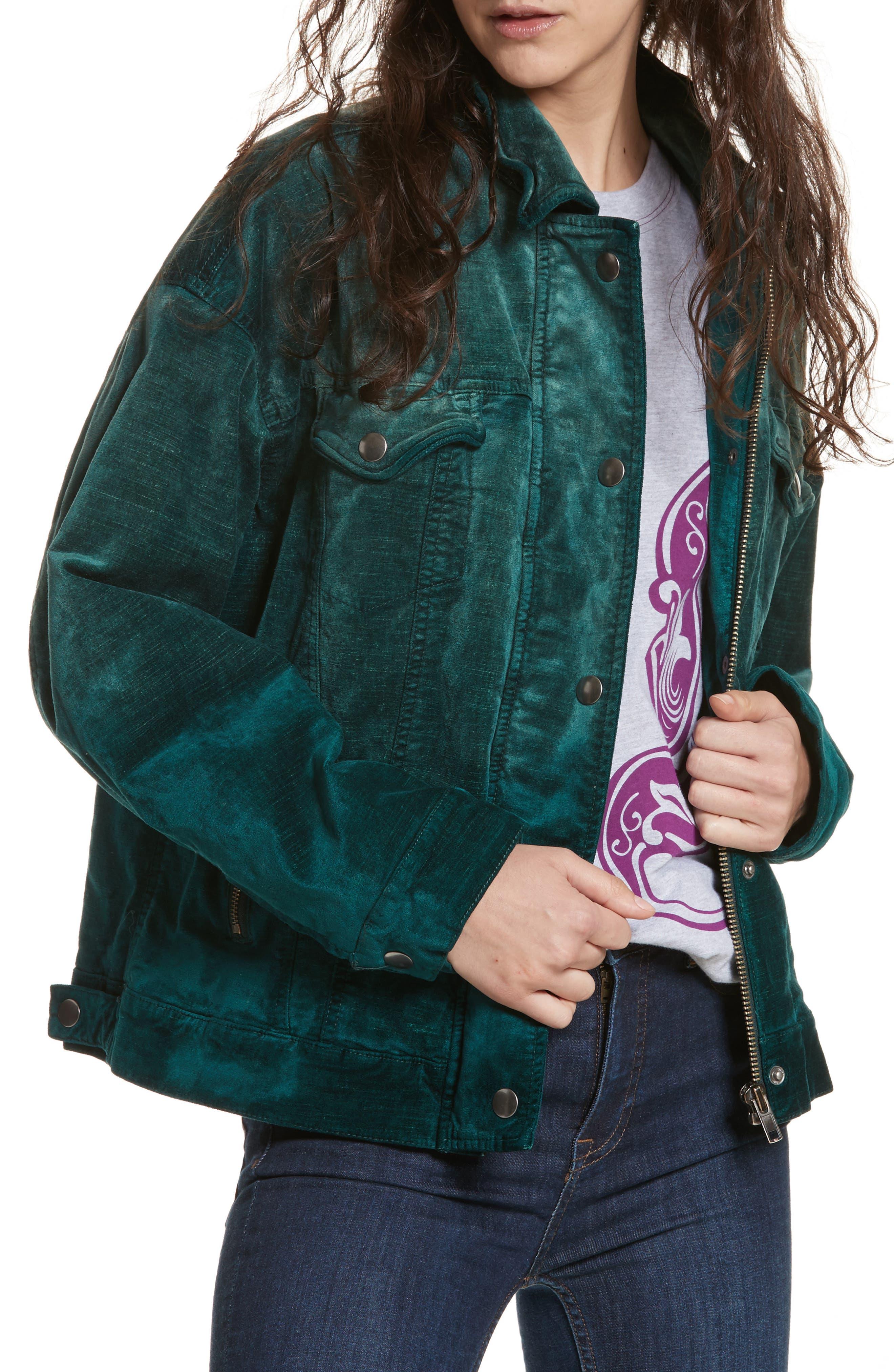 Velvet Trucker Jacket,                         Main,                         color, 440