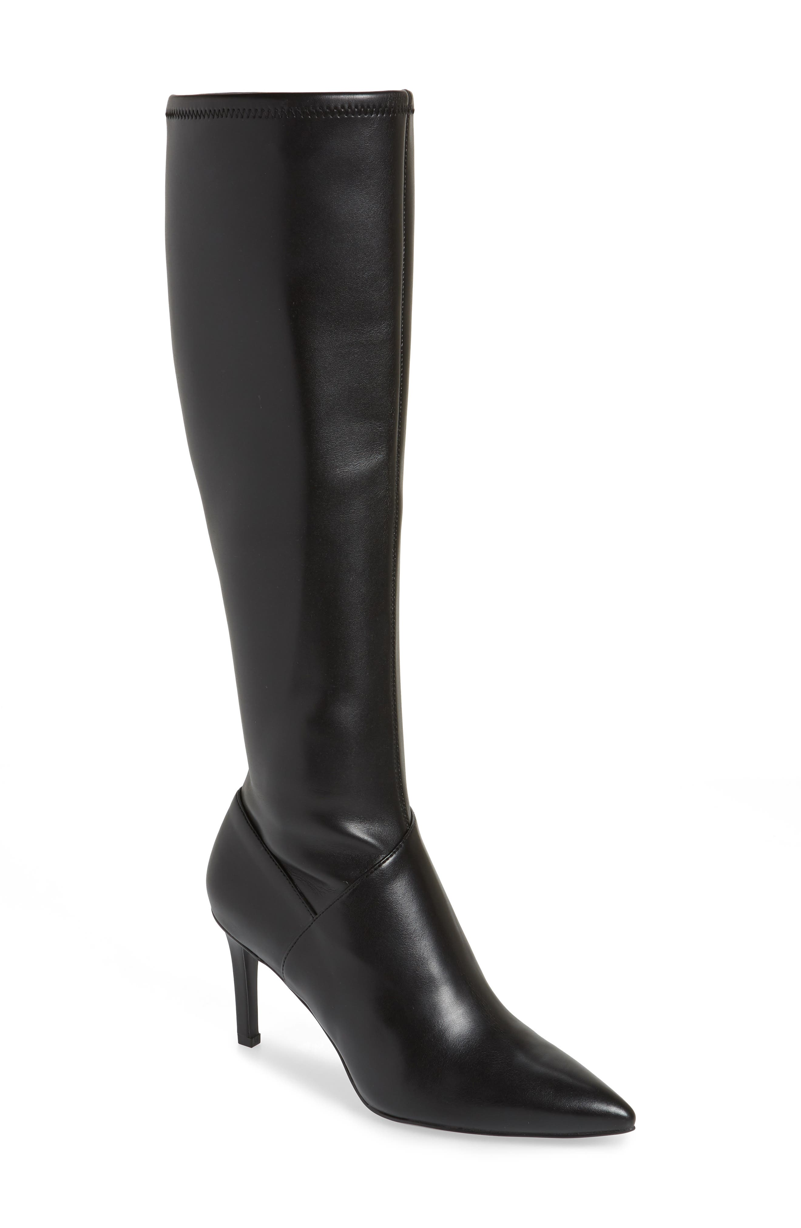 Chelsis Knee High Boot,                             Main thumbnail 1, color,                             BLACK FAUX LEATHER