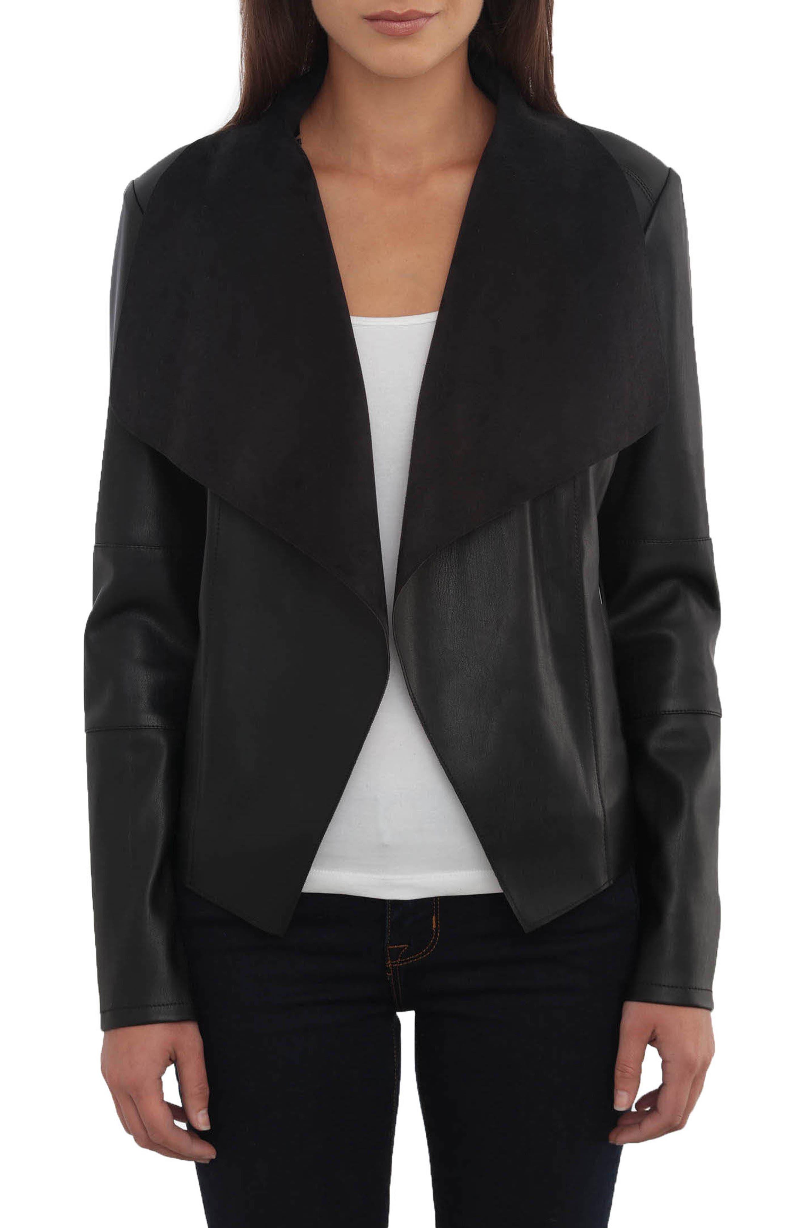 Drape Faux Leather & Faux Suede Jacket,                             Main thumbnail 1, color,                             BLACK