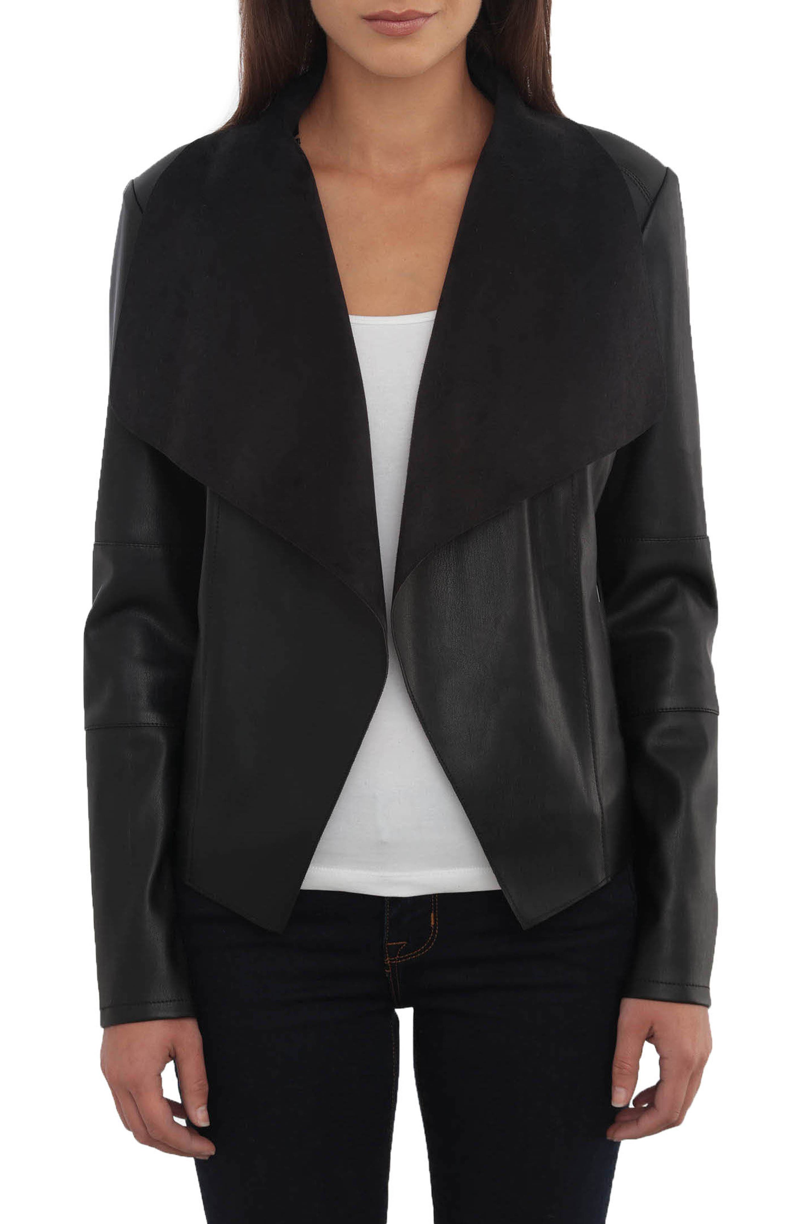 Drape Faux Leather & Faux Suede Jacket by Bagatelle