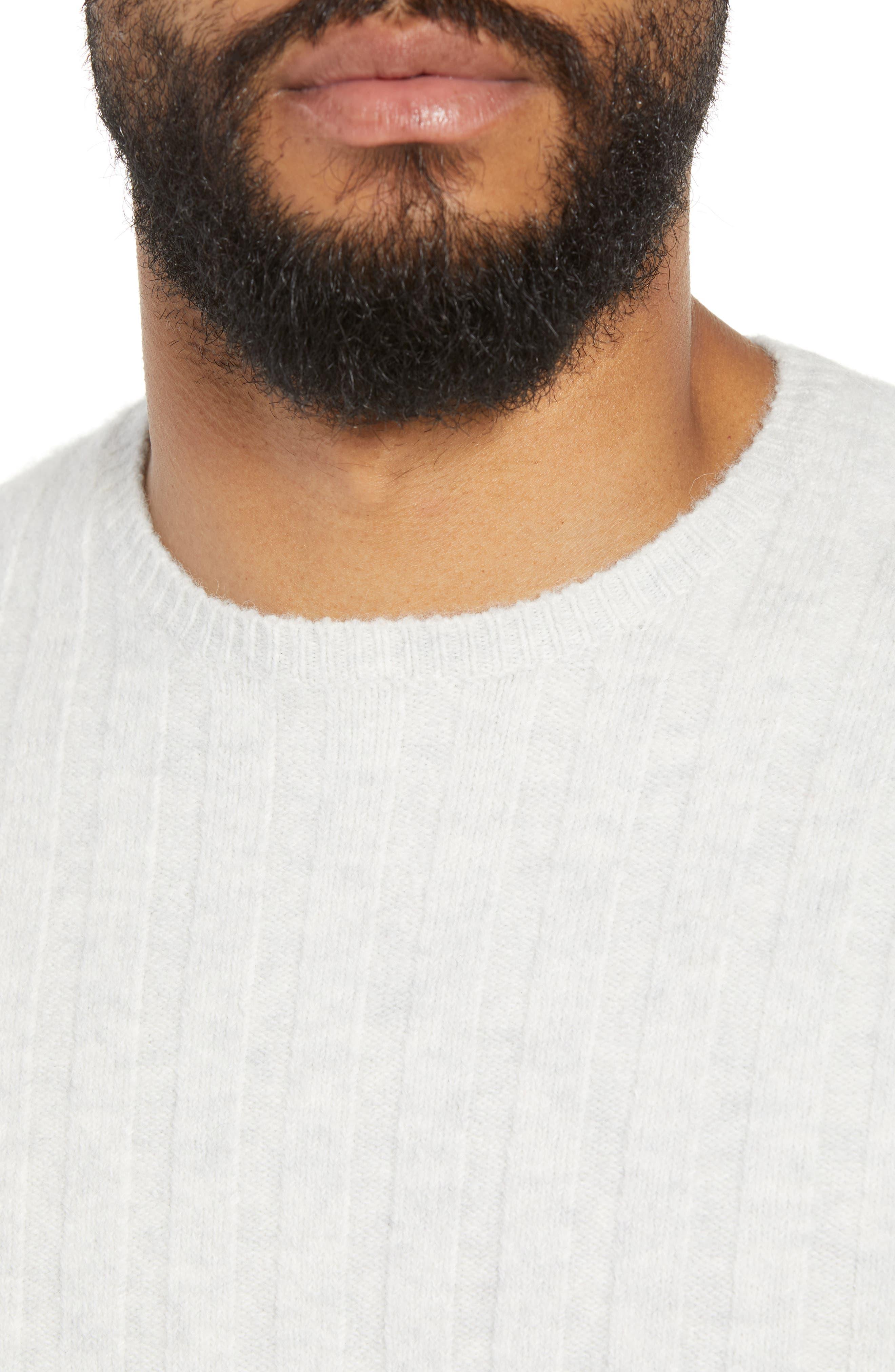 Rib Crewneck Sweater,                             Alternate thumbnail 4, color,                             GREY SILK HEATHER