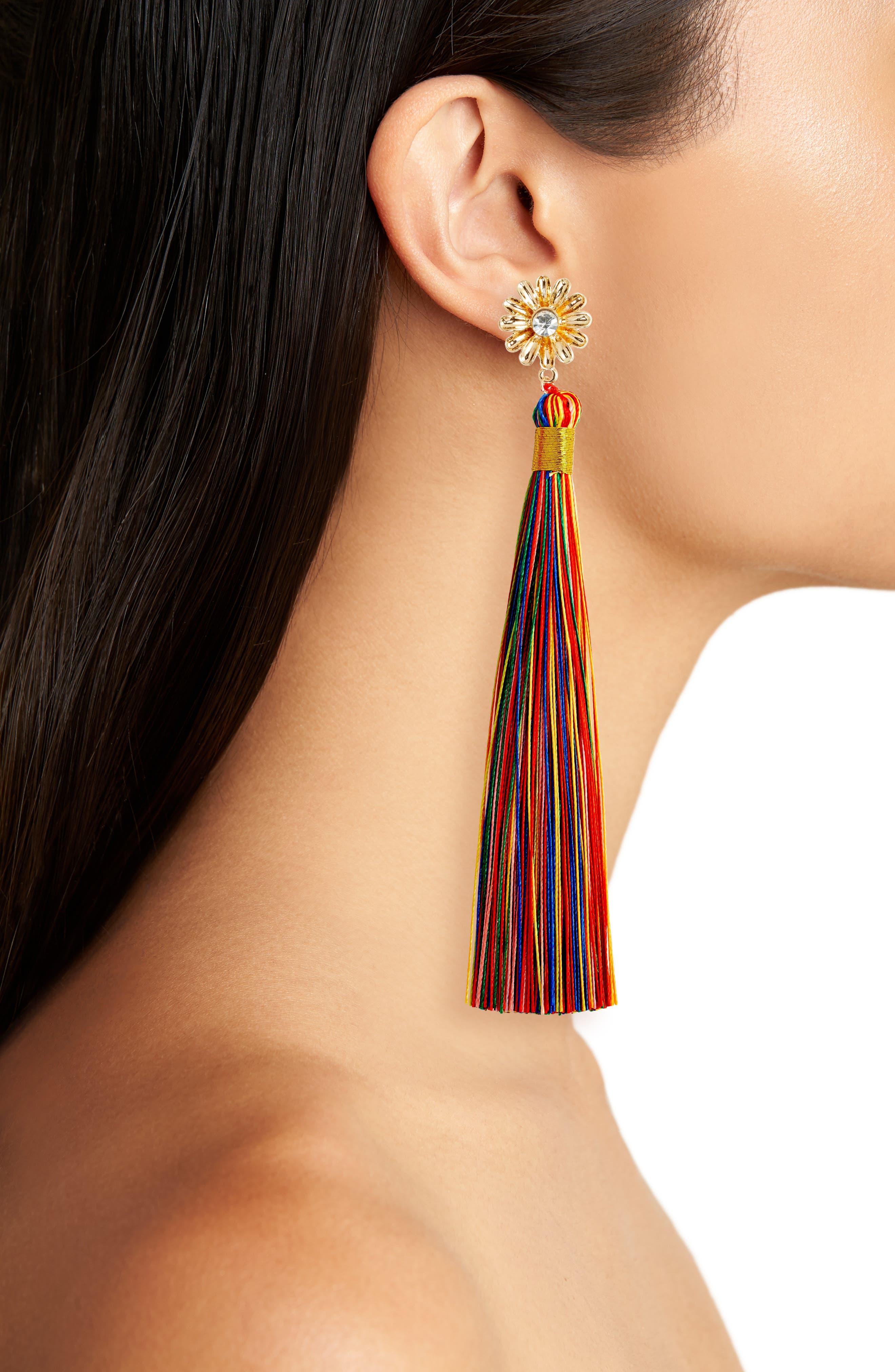 Dolce Tassel Earrings,                             Alternate thumbnail 2, color,                             GOLD/ MULTI