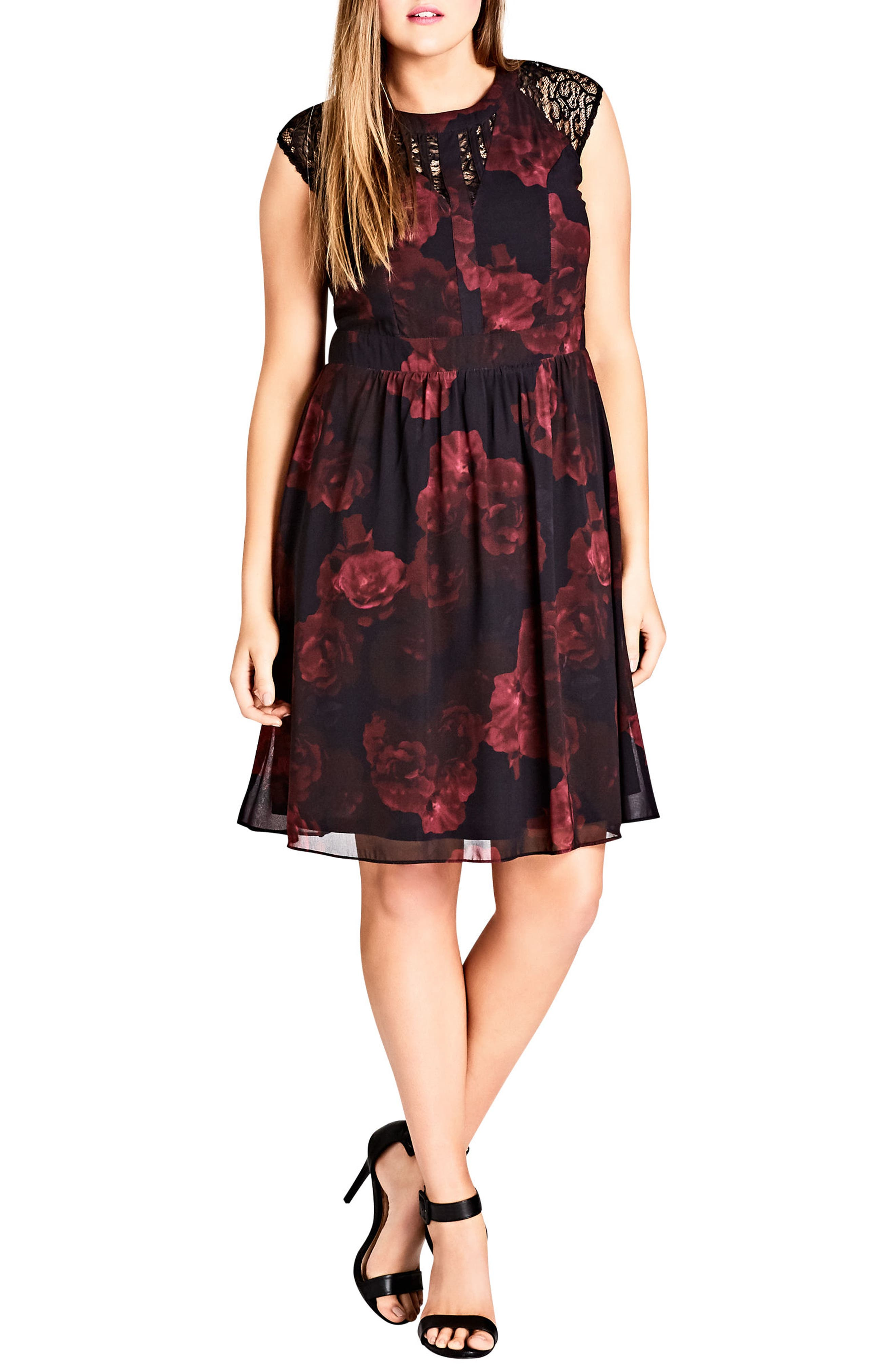 Crimson Rose Fit & Flare Dress,                             Alternate thumbnail 4, color,                             001