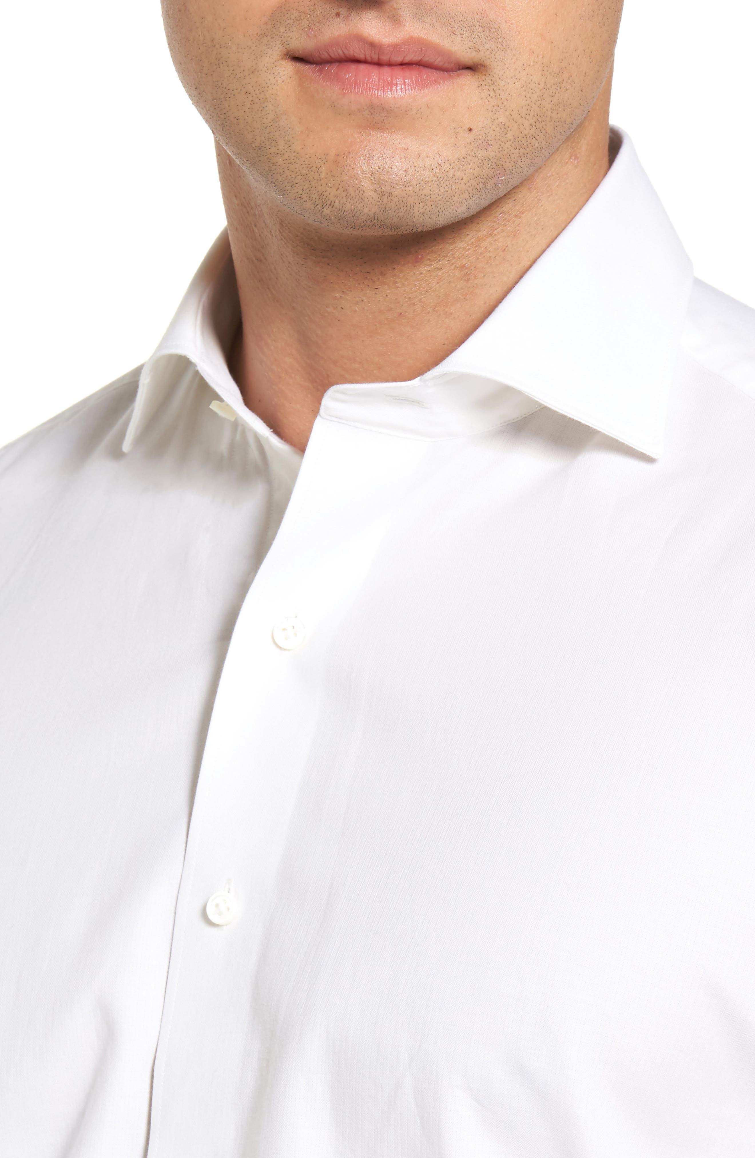 Silky Touch Herringbone Sport Shirt,                             Alternate thumbnail 4, color,                             100