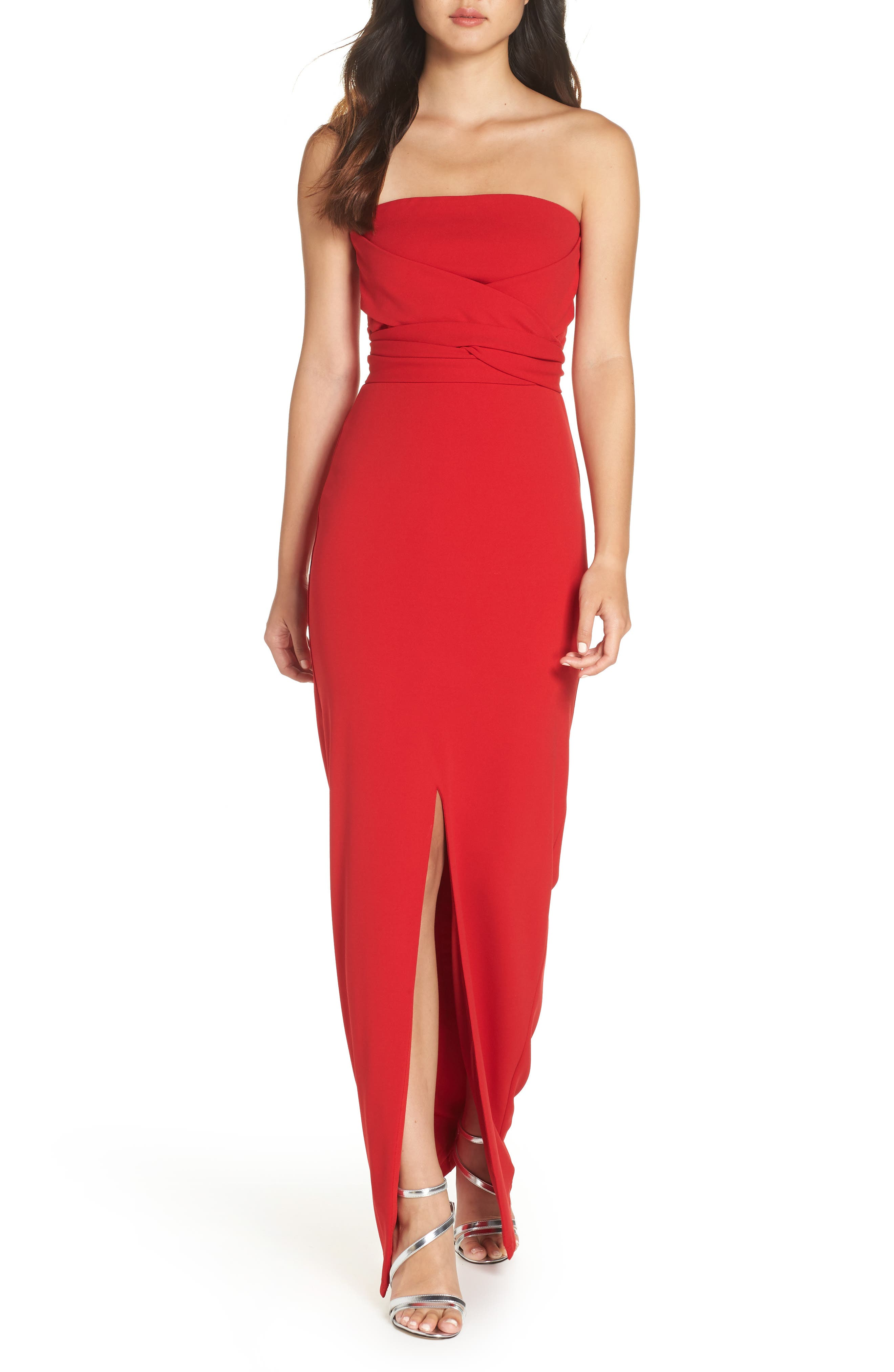 Lulus Own The Night Strapless Maxi Dress, Red