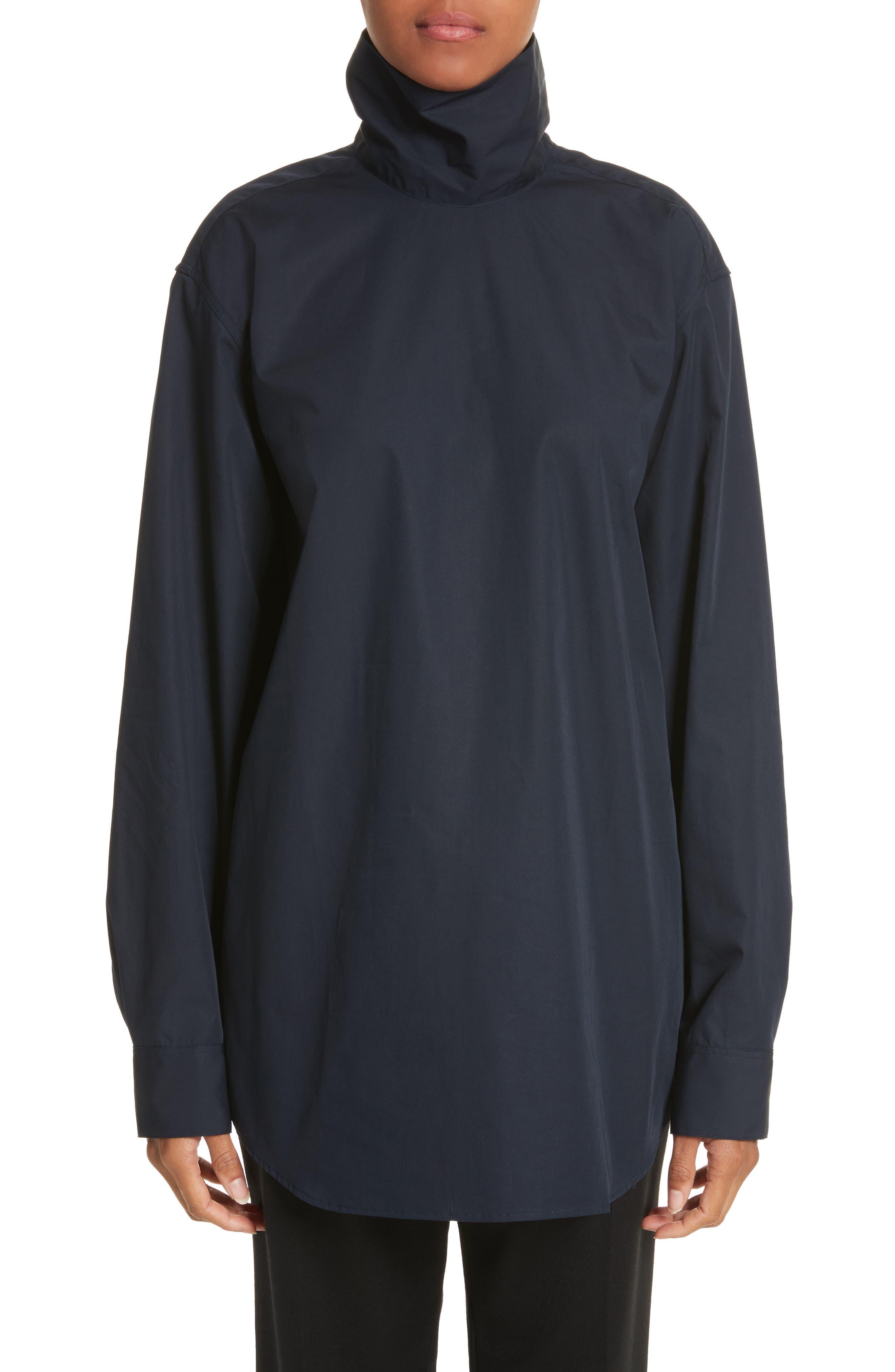 Cotton Poplin Mock Neck Shirt,                             Main thumbnail 1, color,                             400