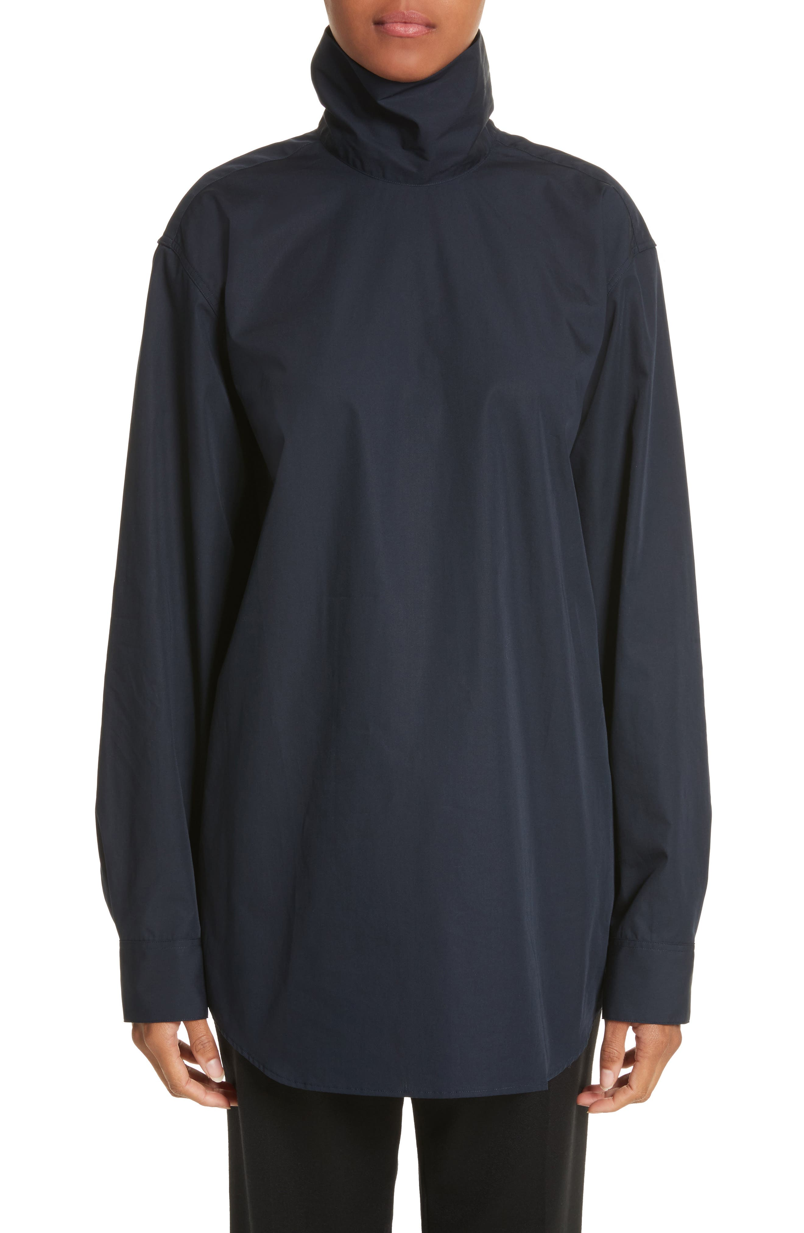 Cotton Poplin Mock Neck Shirt,                         Main,                         color, 400