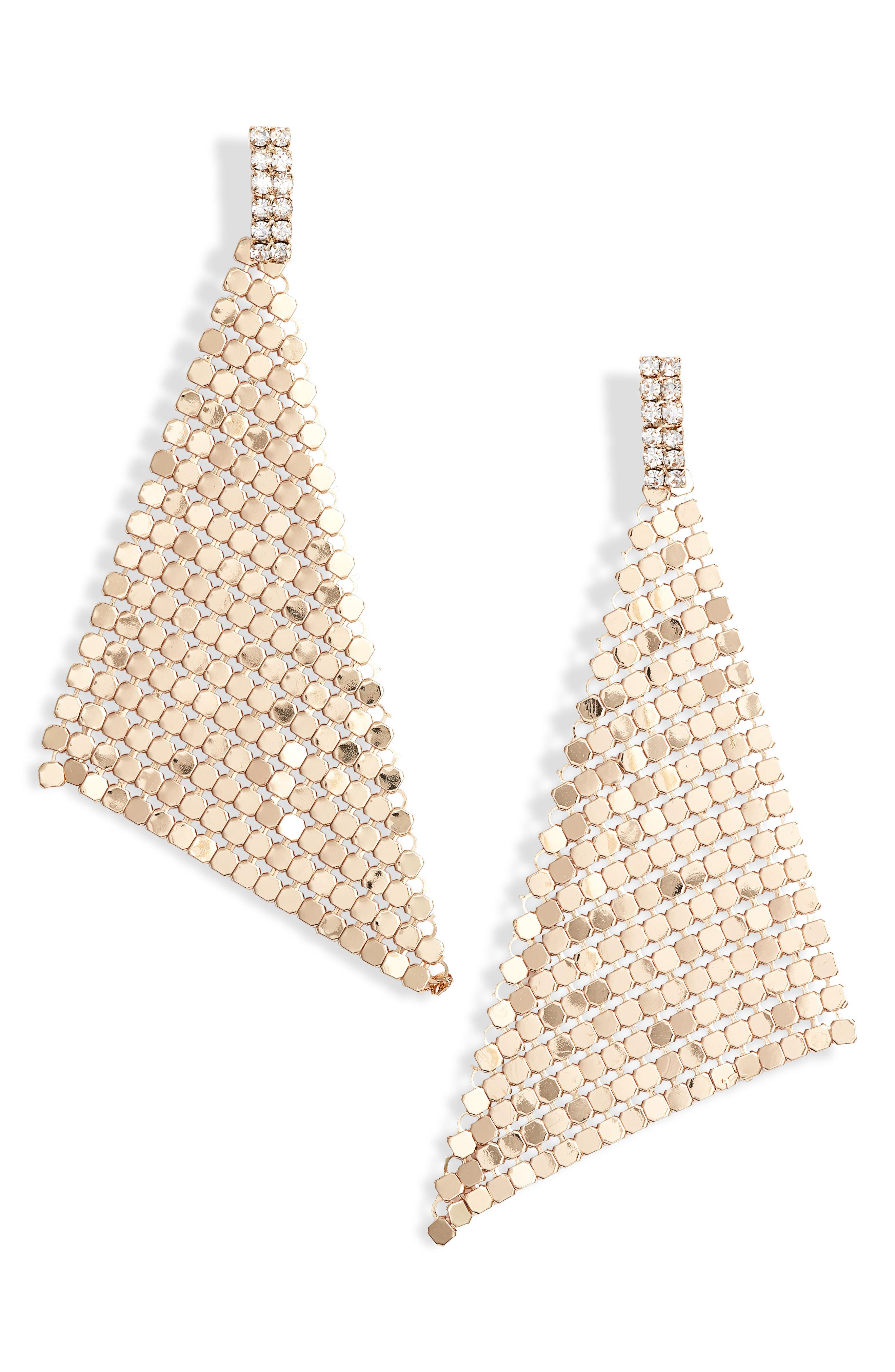 Crystal & Chain Mail Triangle Earrings,                             Main thumbnail 1, color,                             710
