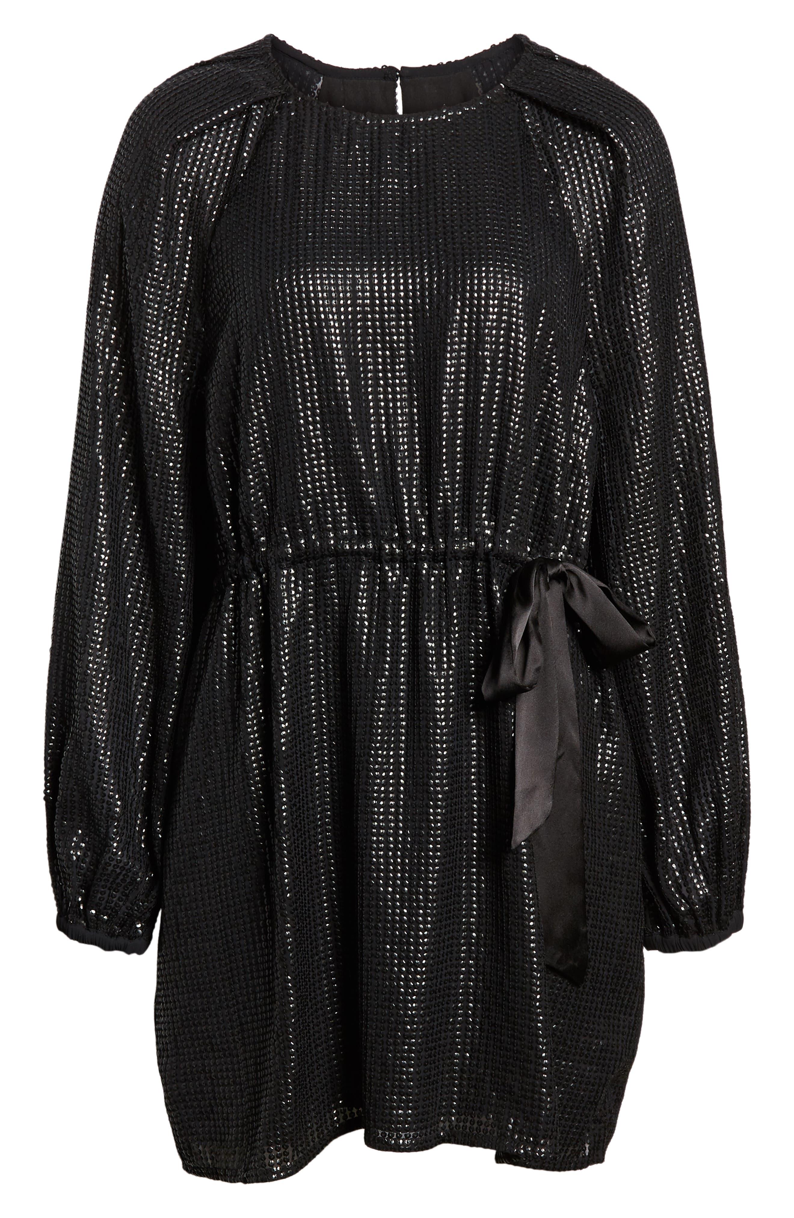 Sequin Raglan Minidress,                             Alternate thumbnail 8, color,                             BLACK