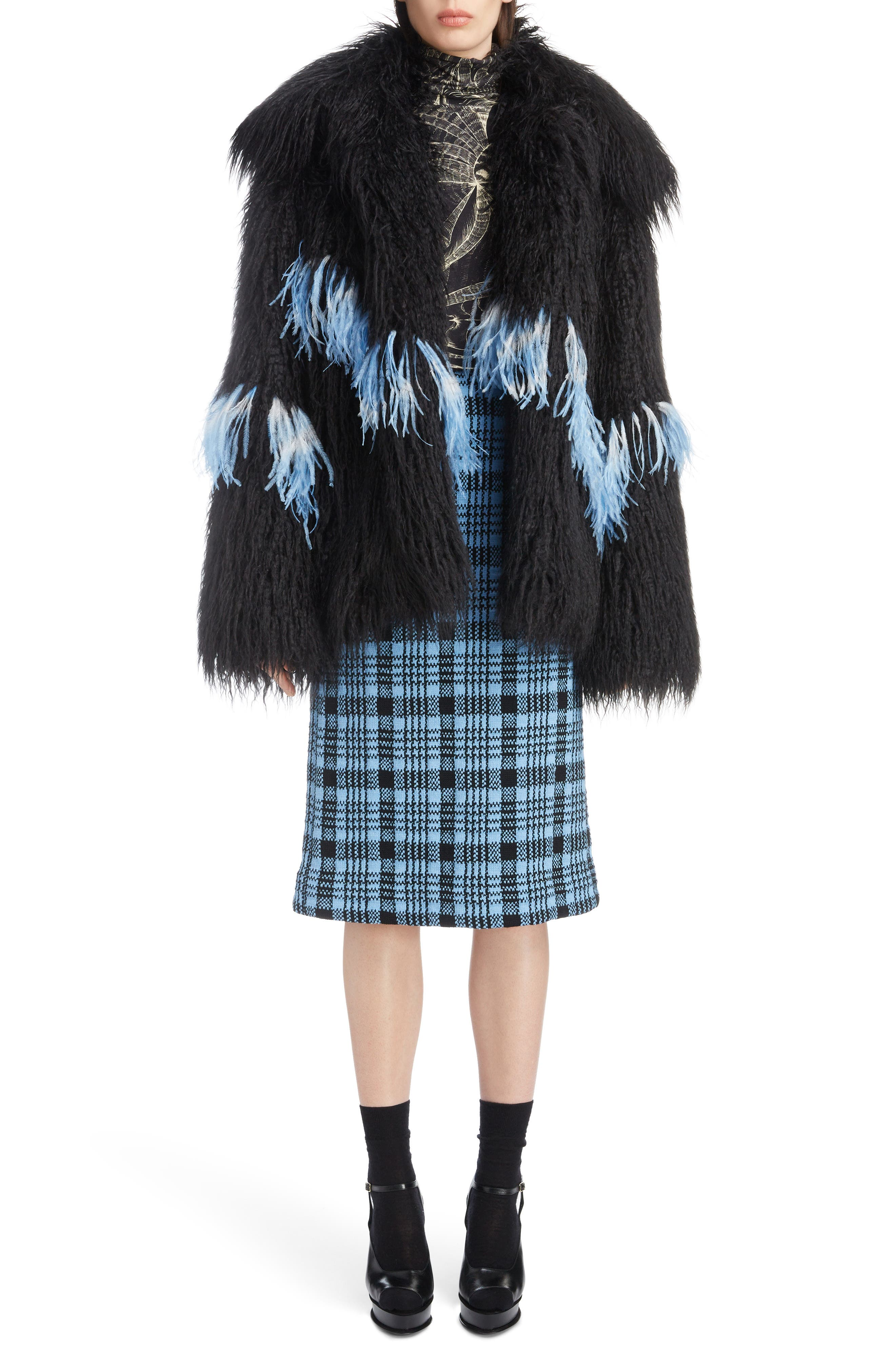Feather Trim Faux Fur Jacket,                             Alternate thumbnail 6, color,                             BLACK