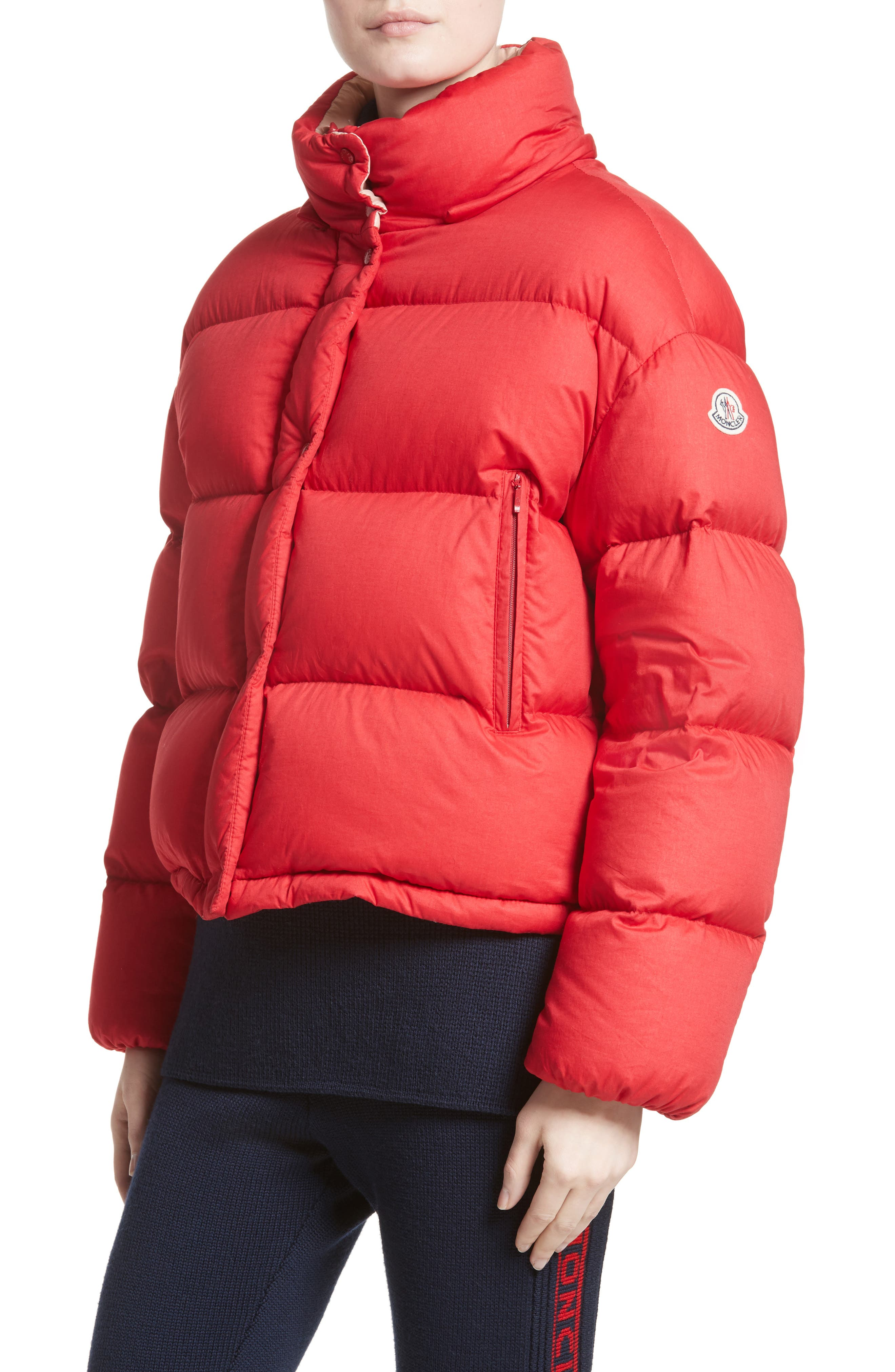 Paeonia Quilted Puffer Jacket,                             Alternate thumbnail 4, color,                             RED