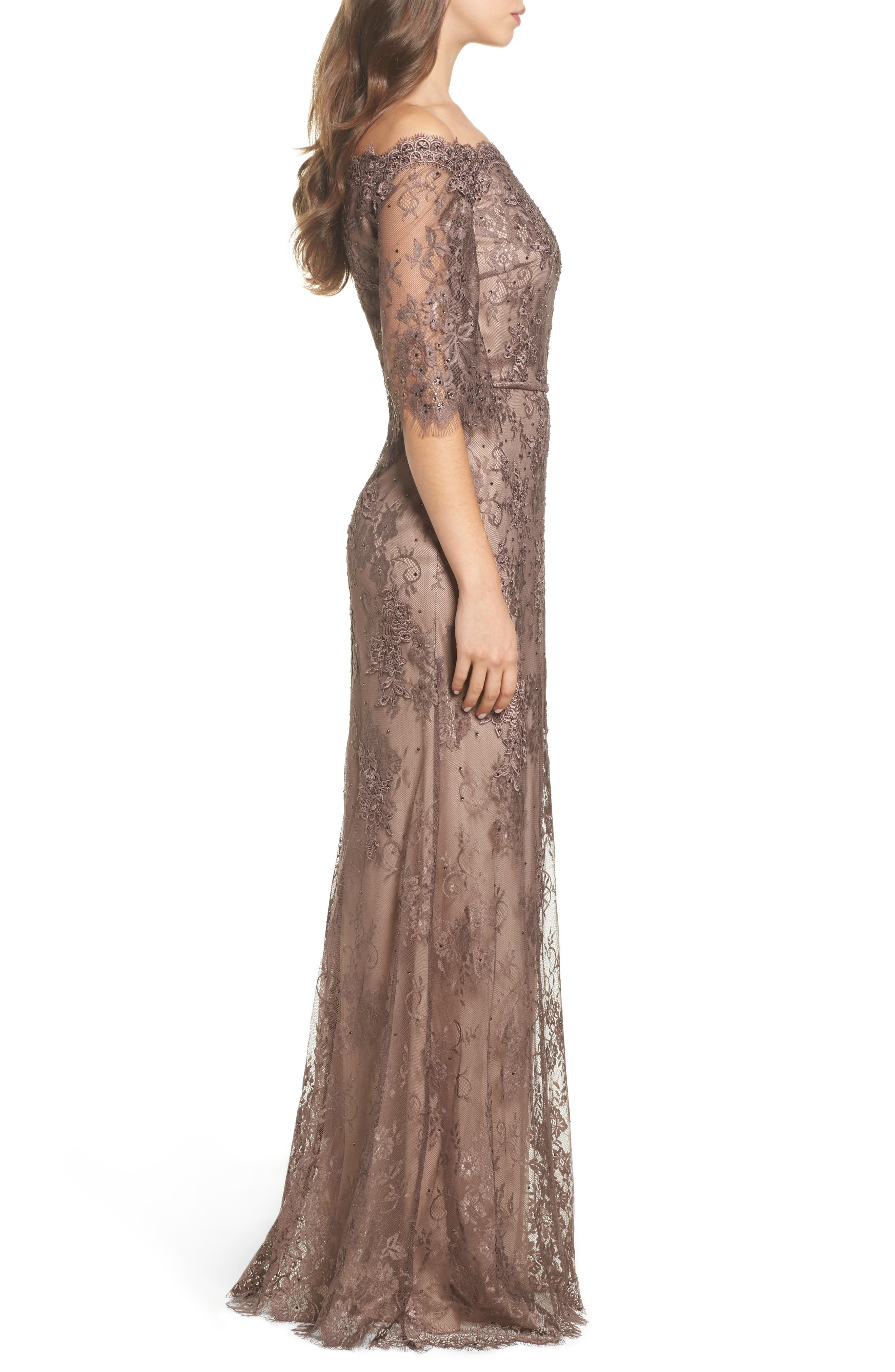 Off the Shoulder Lace Gown,                             Alternate thumbnail 3, color,                             COCOA