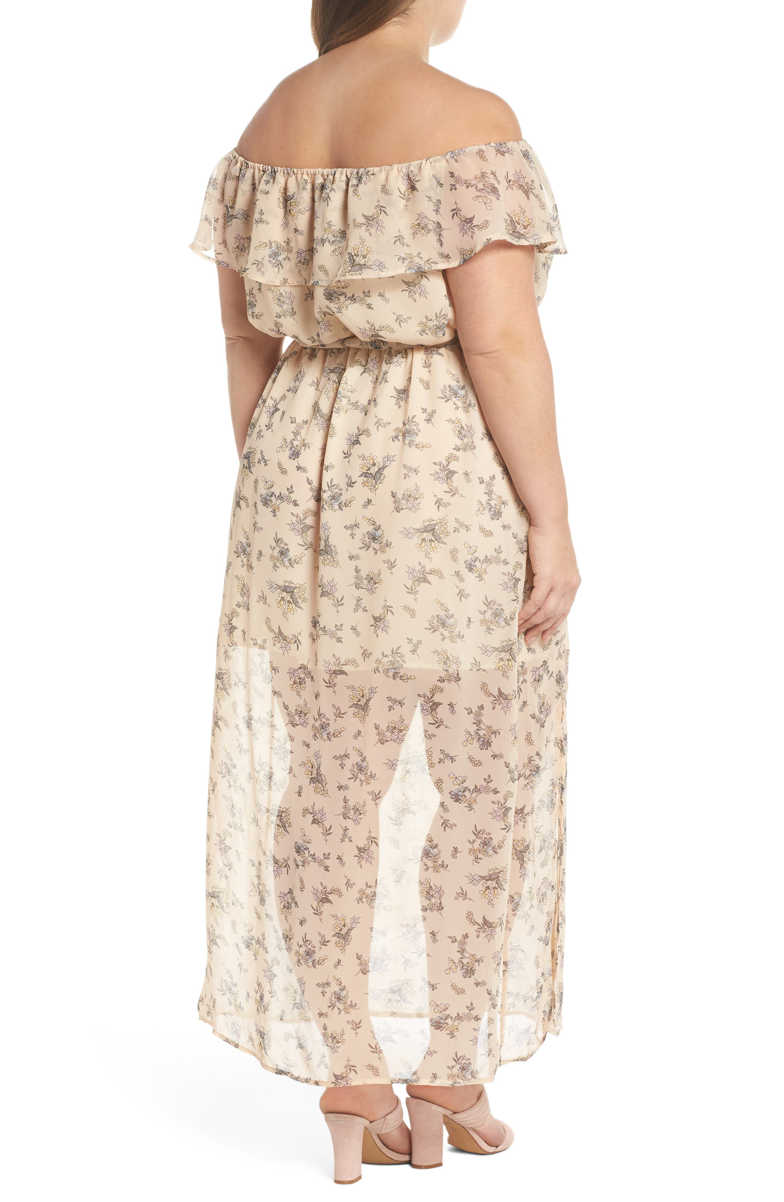 Print Off-the-Shoulder Maxi Dress,                             Alternate thumbnail 2, color,
