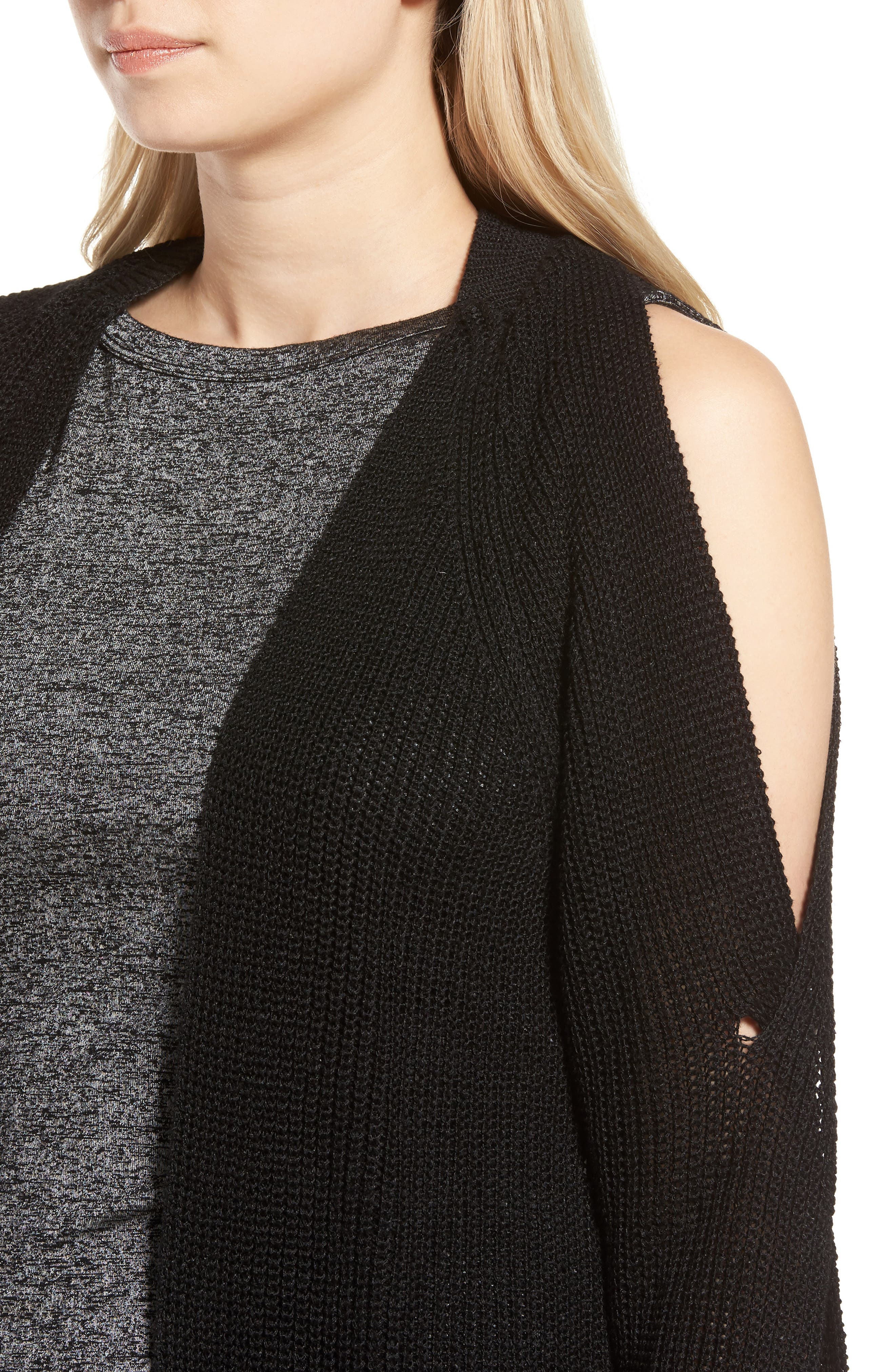 Twisted Sleeve Cardigan,                             Alternate thumbnail 4, color,                             001