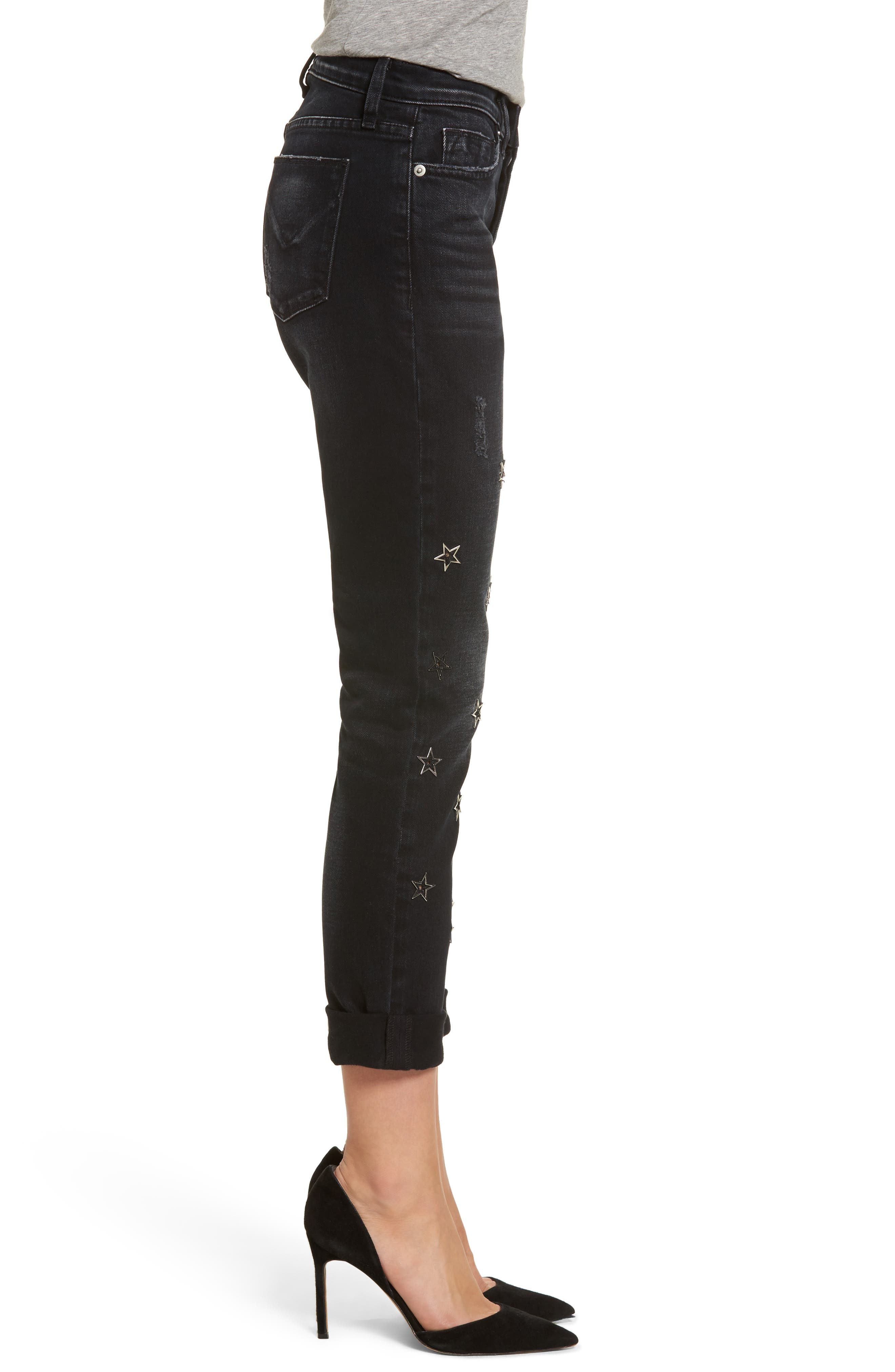 Riley Crop Relaxed Straight Leg Jeans,                             Alternate thumbnail 3, color,                             001