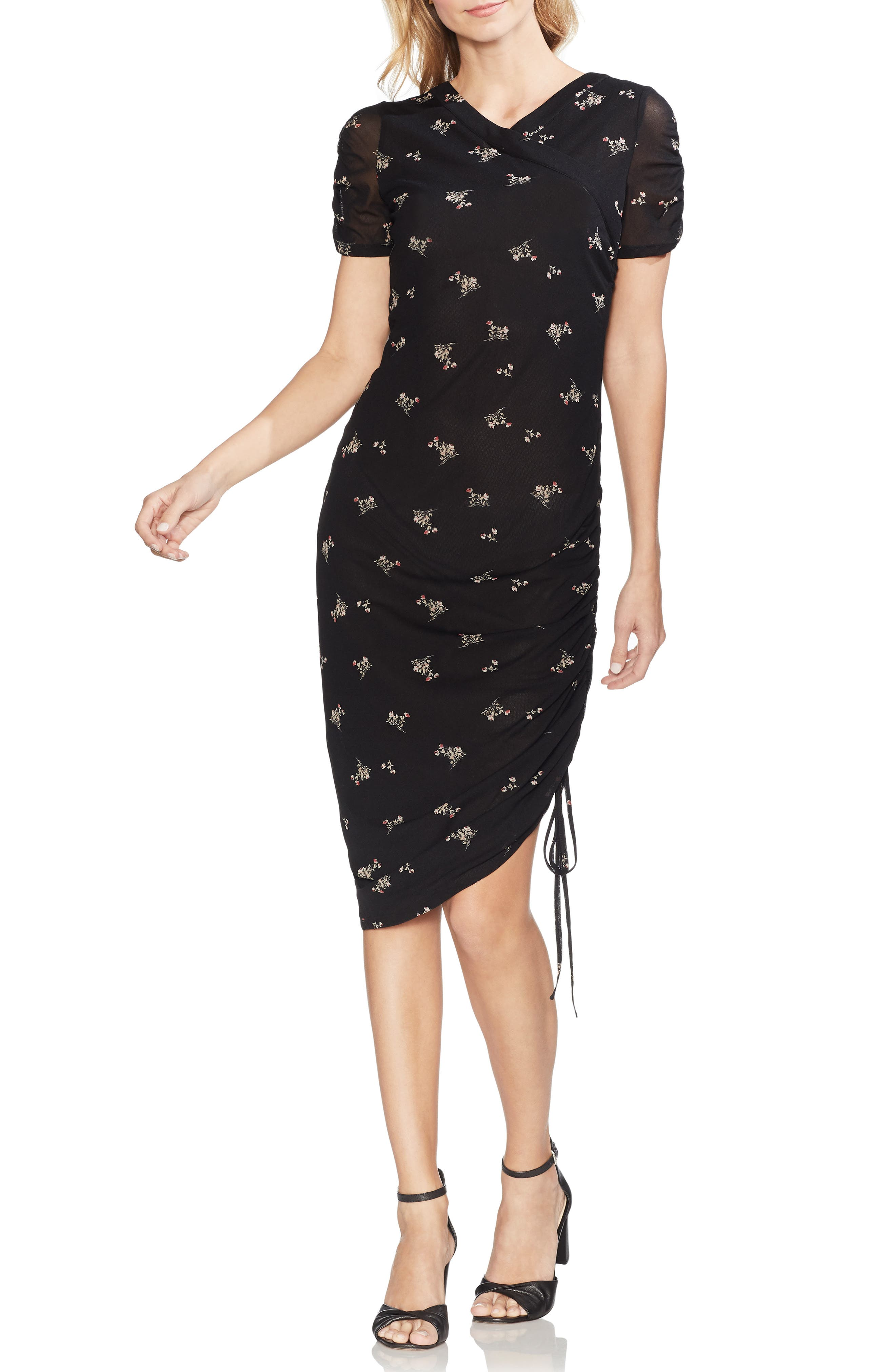 Vince Camuto Desert Bouquet Midi Dress, Black