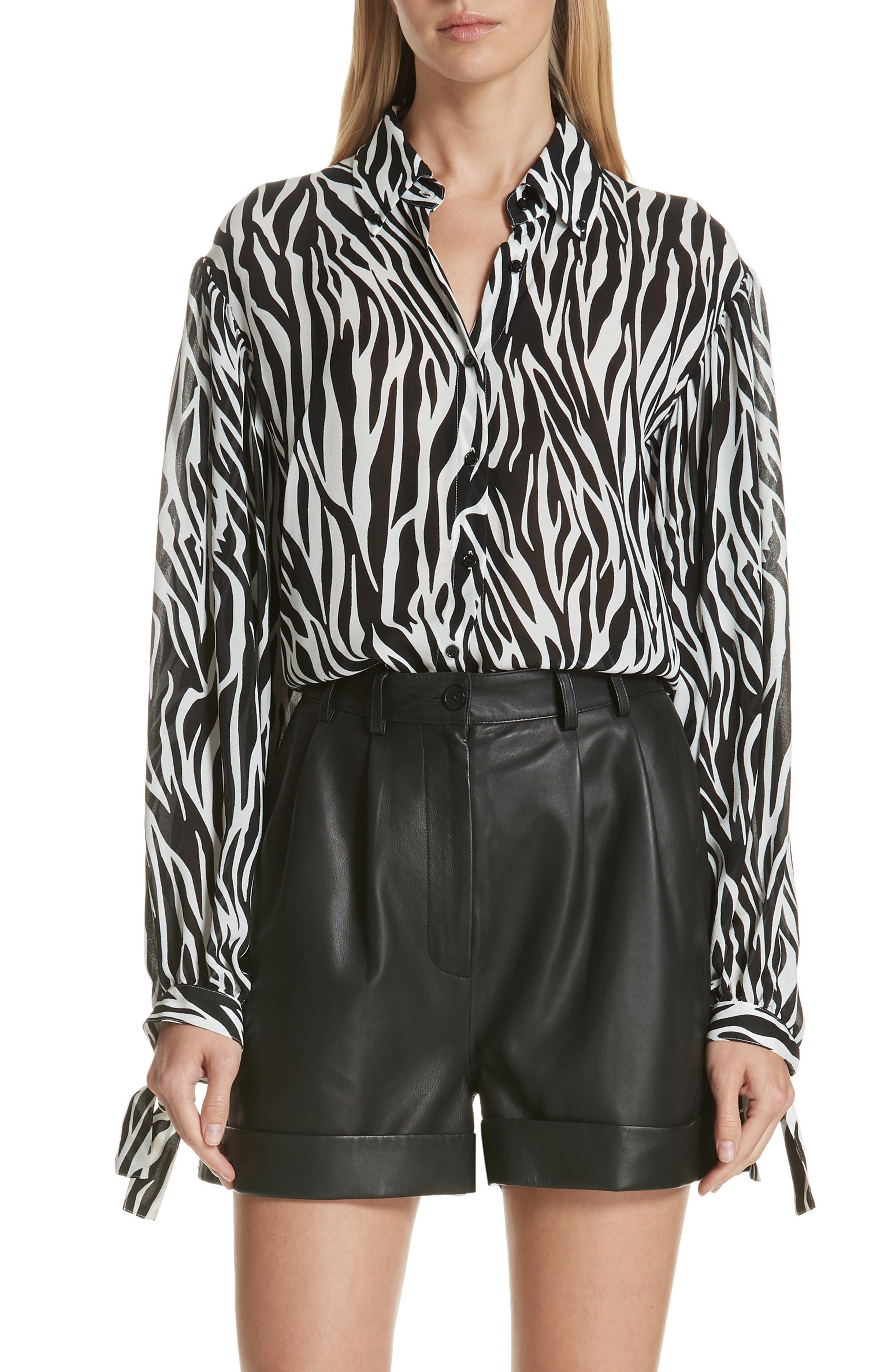 Zebra Print Tie Cuff Blouse,                         Main,                         color, WHITE BLACK