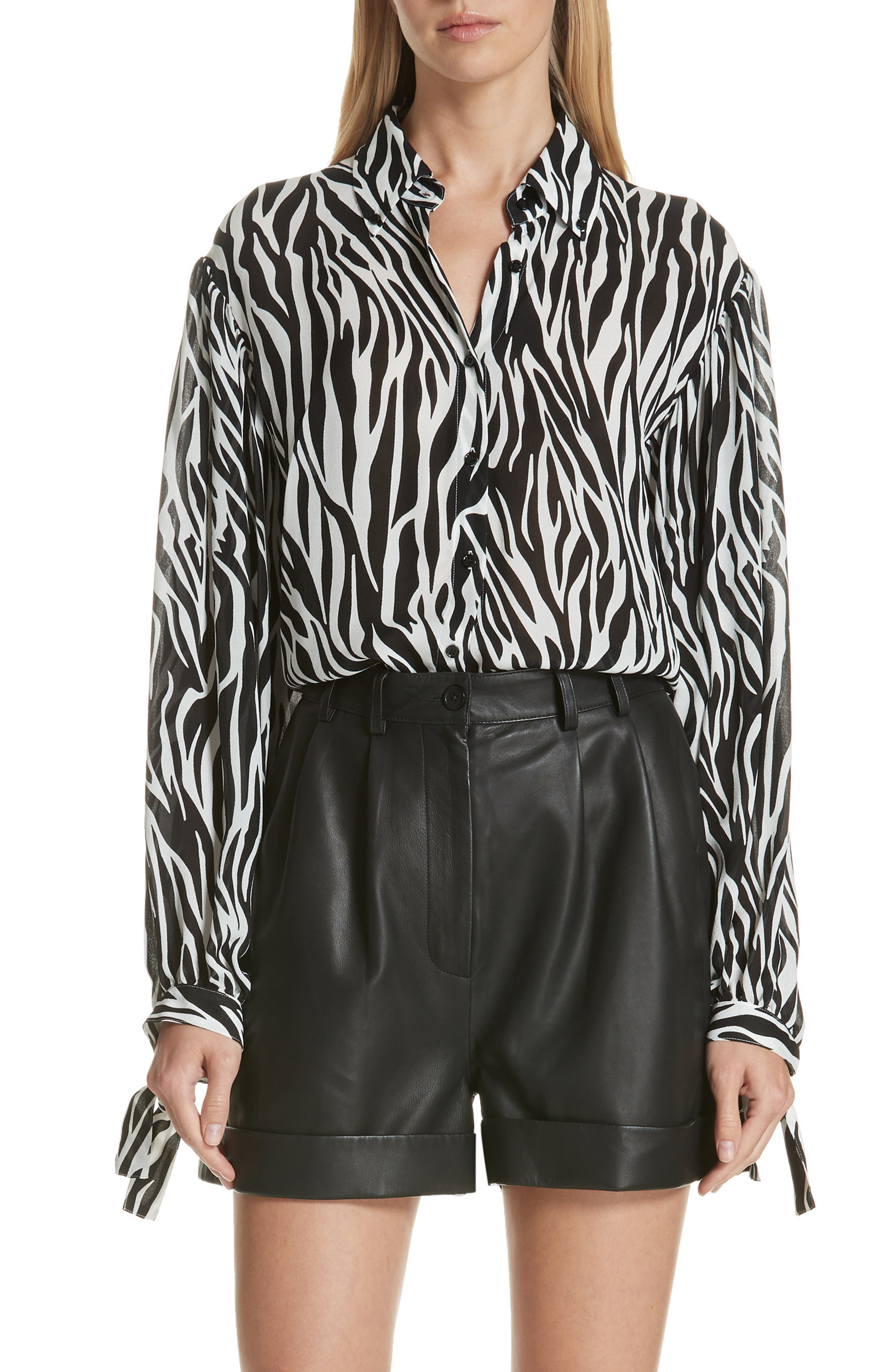 Zebra Print Tie Cuff Blouse,                         Main,                         color, 001