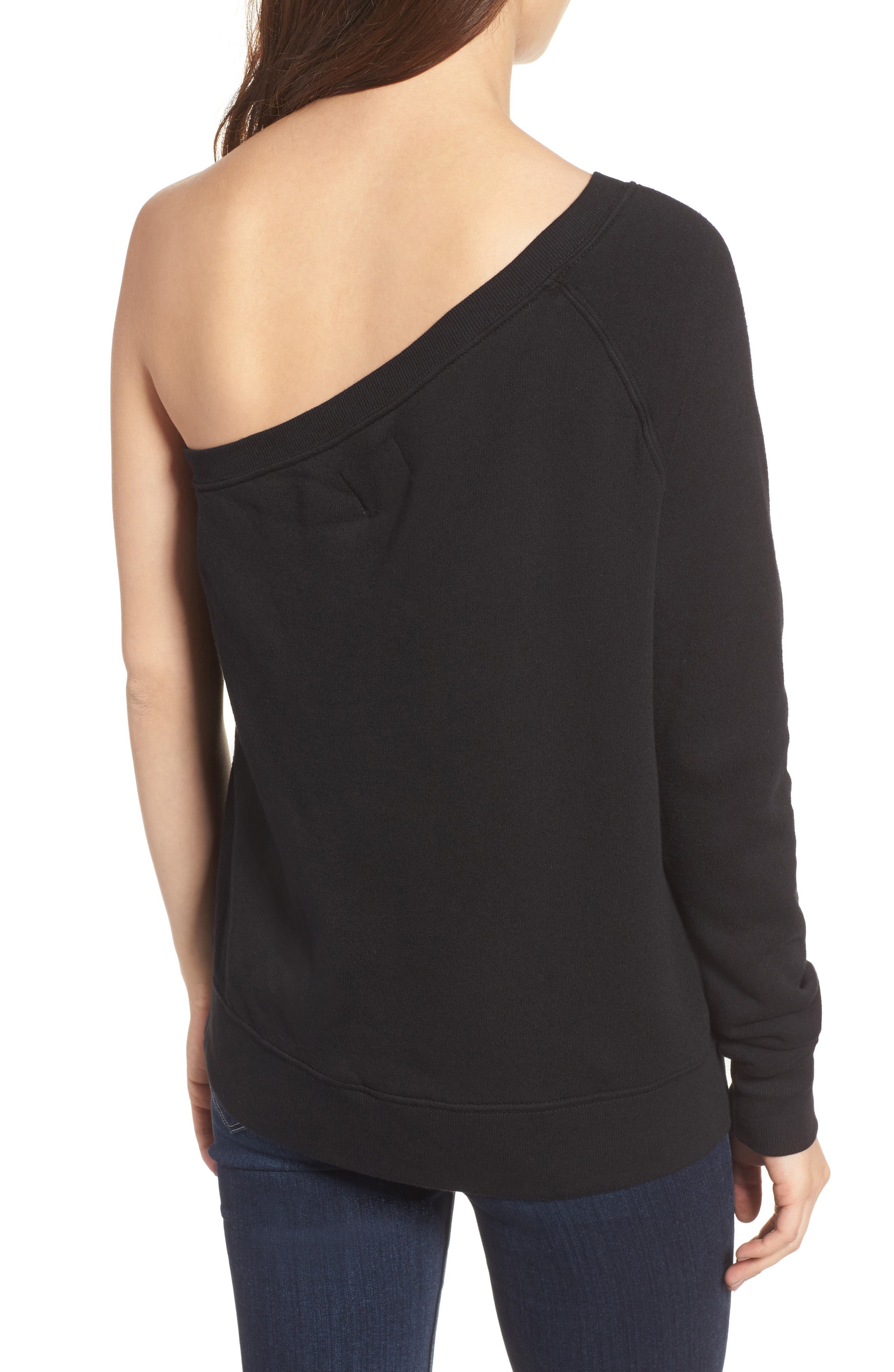 One-Shoulder Sweatshirt,                             Alternate thumbnail 2, color,                             001