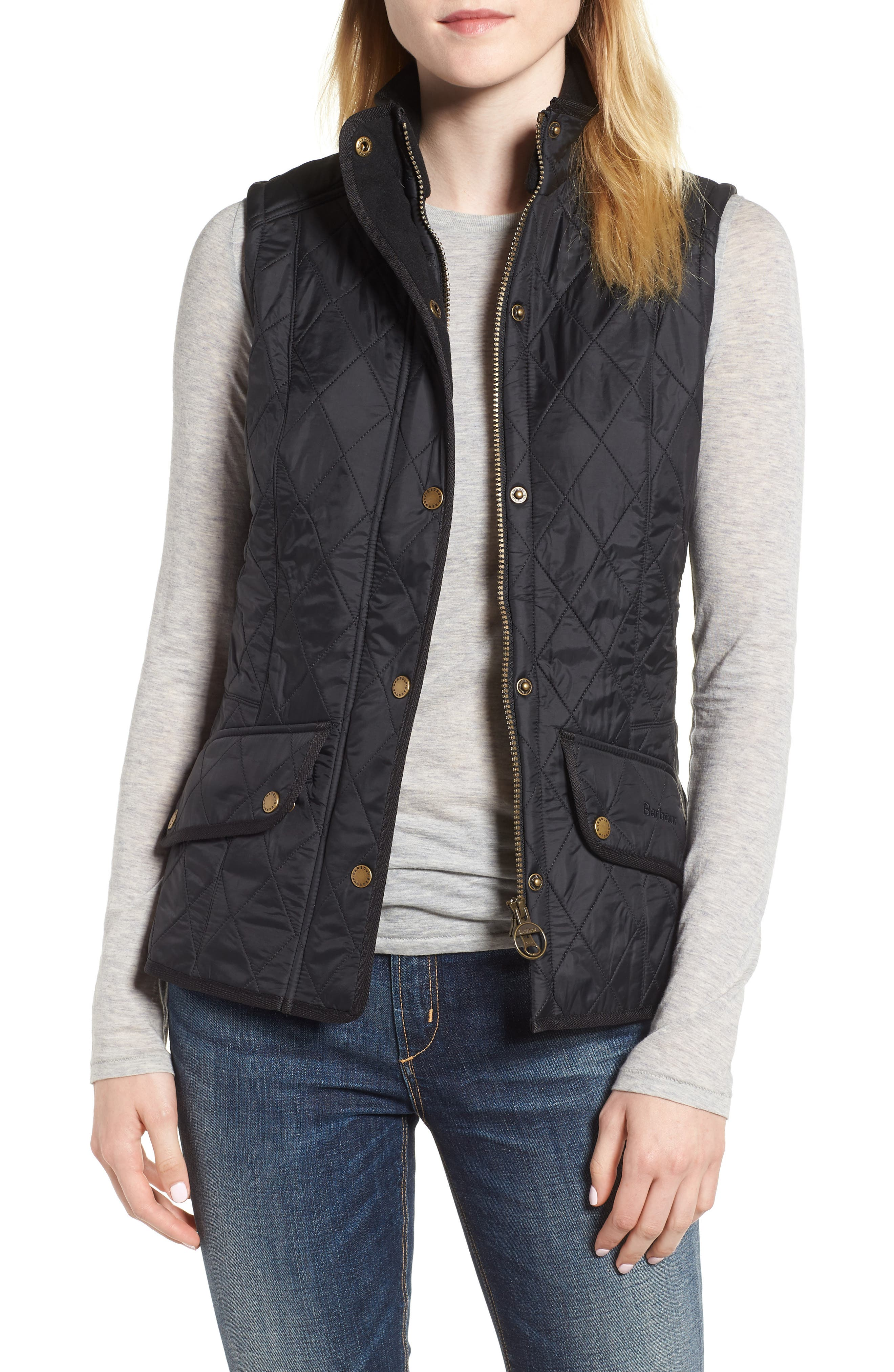 'Cavalry' Quilted Vest,                             Main thumbnail 1, color,                             BLACK/ BLACK