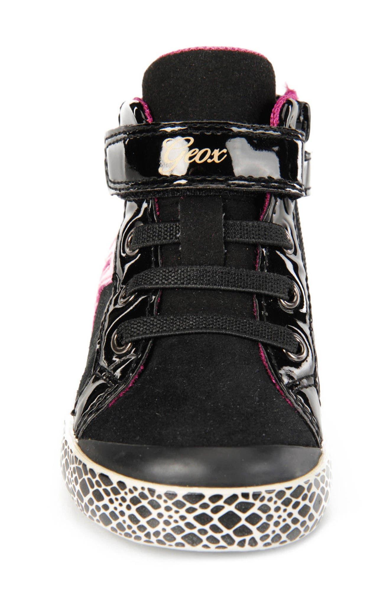 GEOX,                             Kiwi Girl High Top Sneaker,                             Alternate thumbnail 4, color,                             001