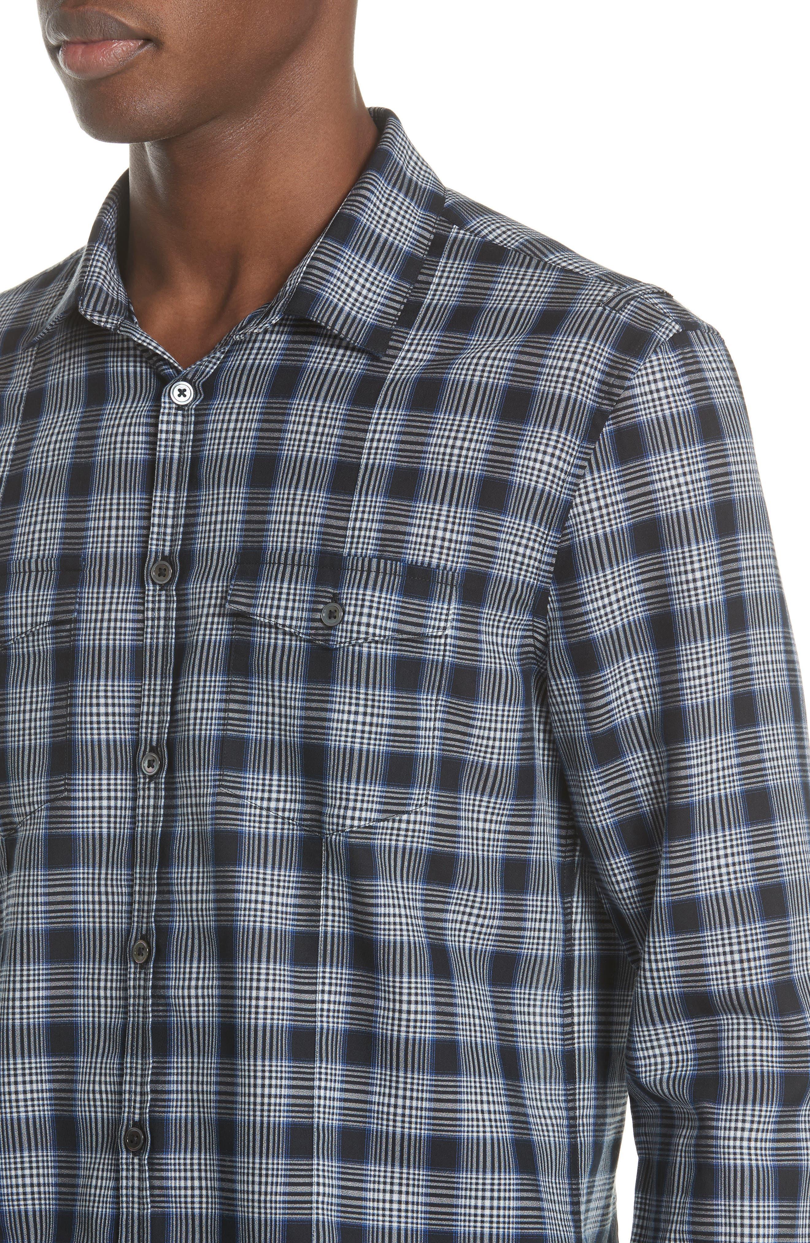 Slim Fit Plaid Sport Shirt,                             Alternate thumbnail 4, color,                             MIDNIGHT