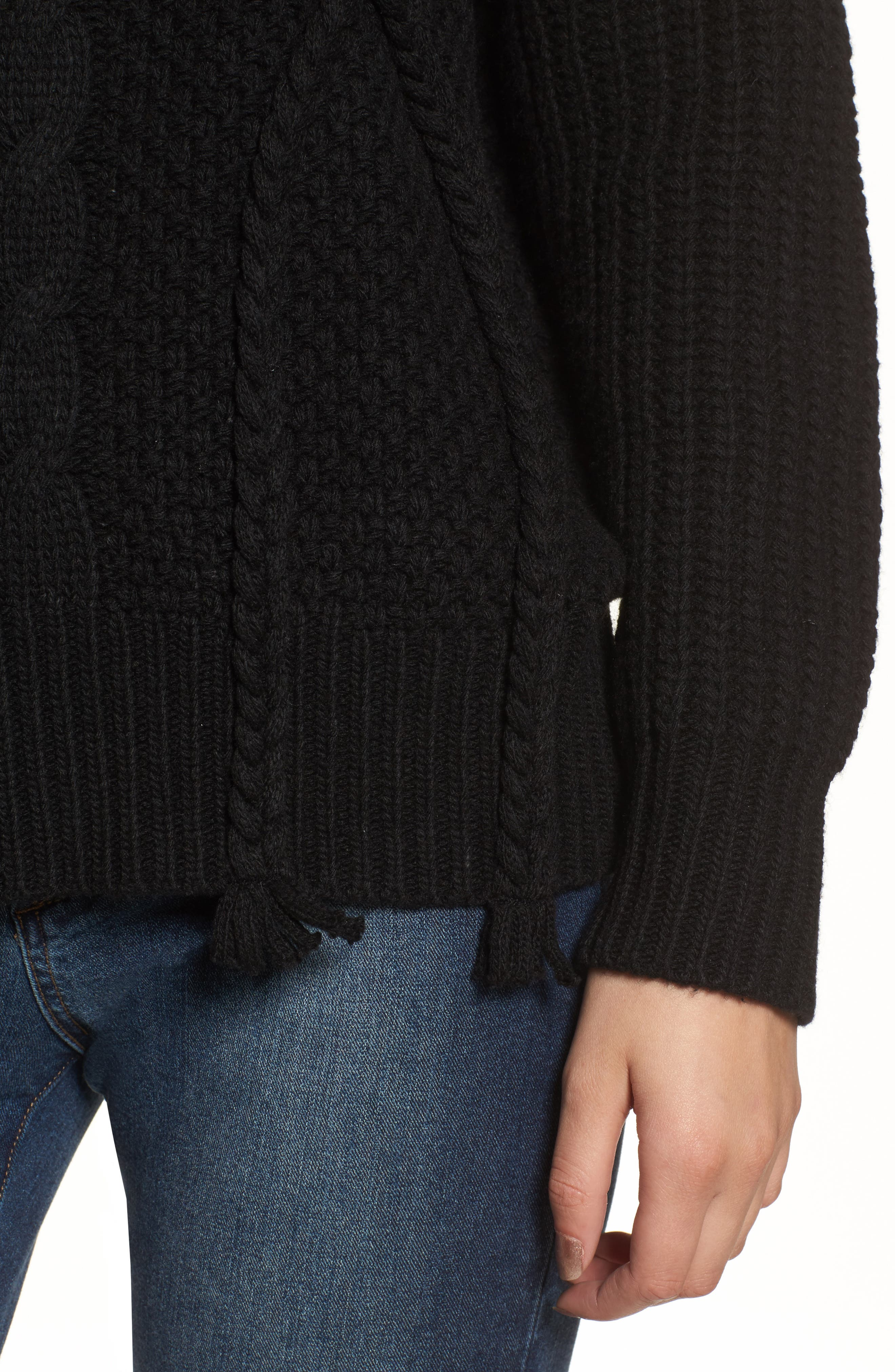 Plaited Cable Knit Sweater,                             Alternate thumbnail 4, color,                             001
