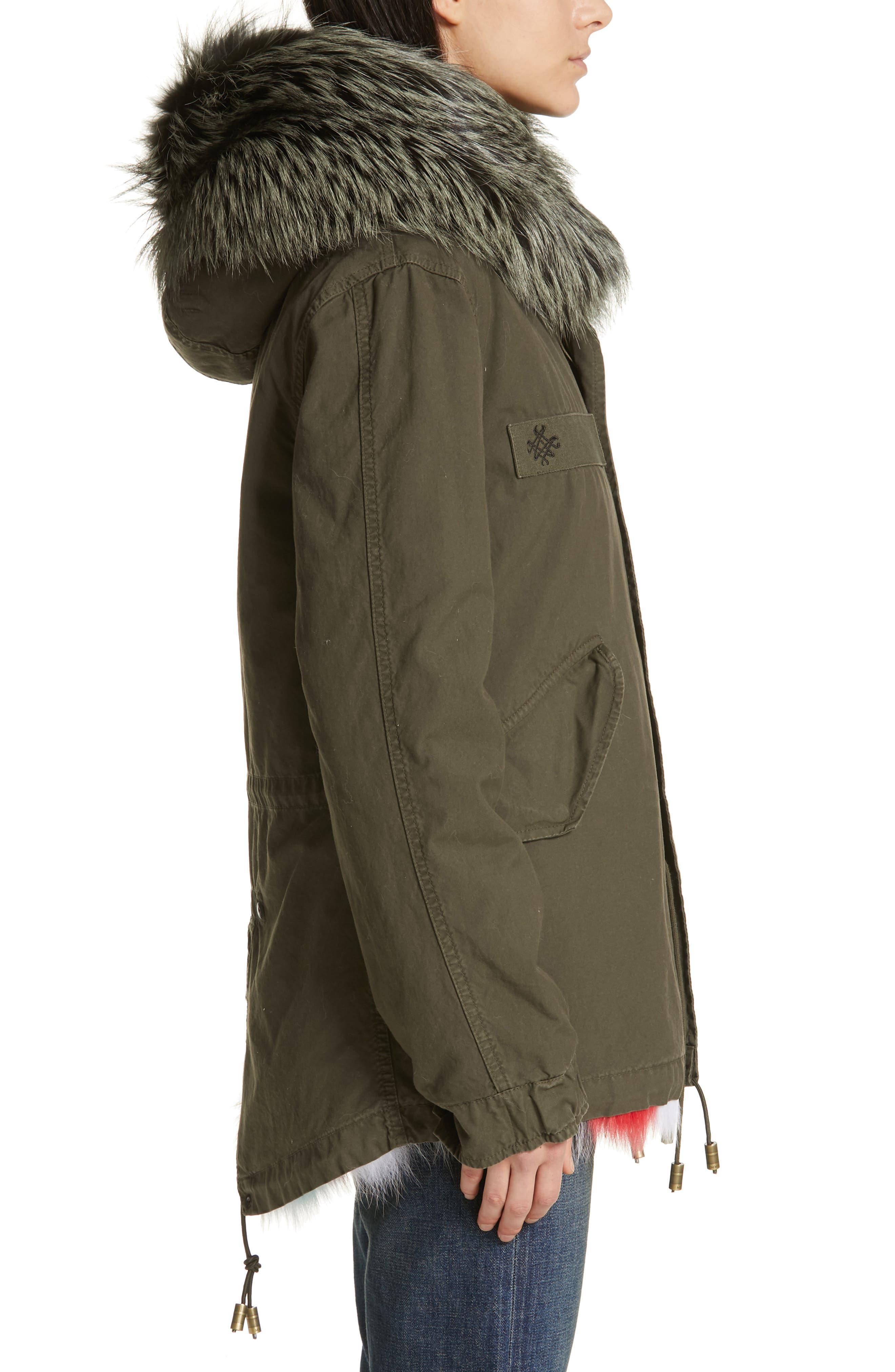 Genuine Fox Fur Trim Parka,                             Alternate thumbnail 4, color,                             ARMY