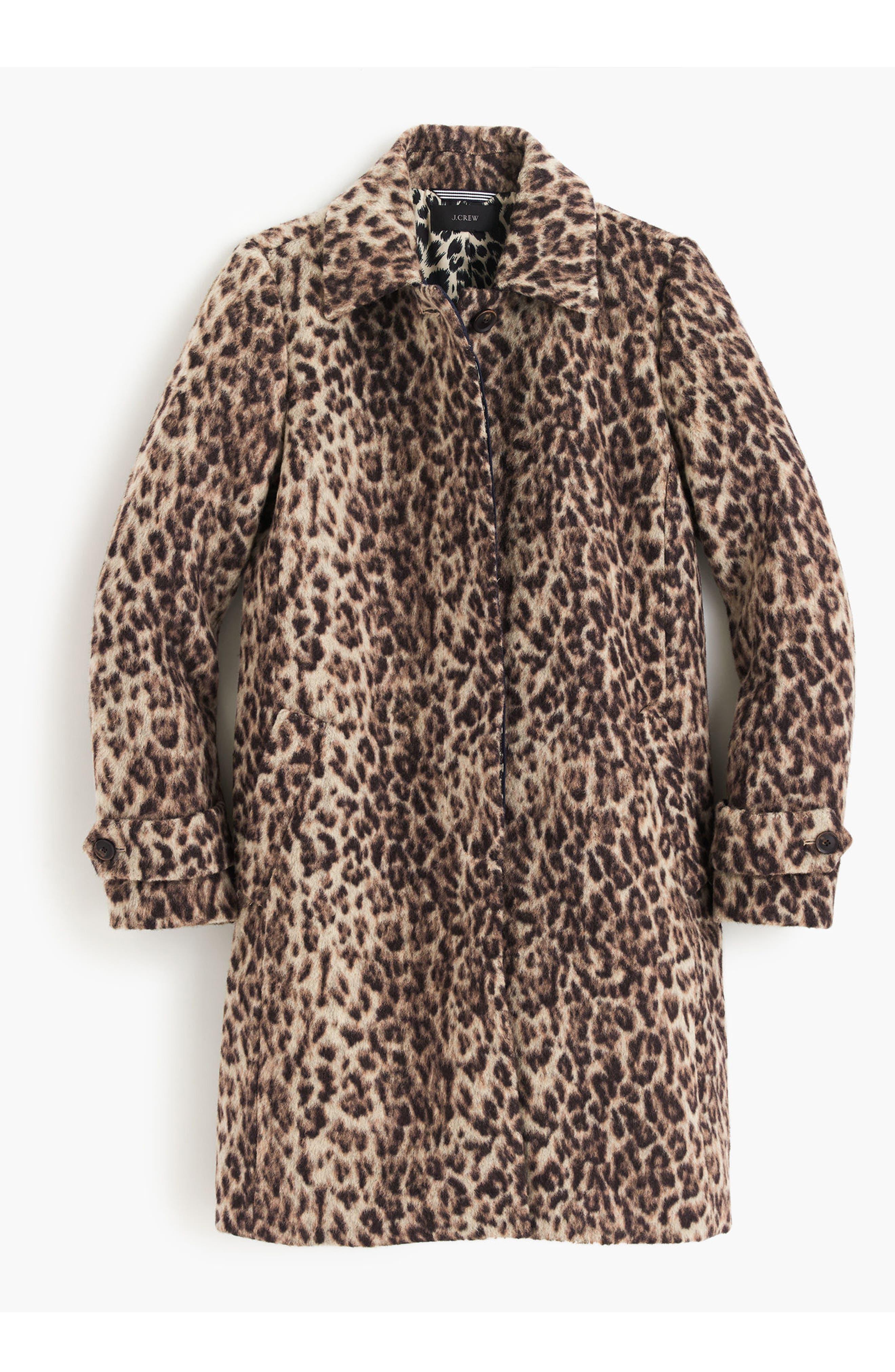 J.CREW,                             Double Leopard Topcoat,                             Alternate thumbnail 5, color,                             SNOW LEOPARD