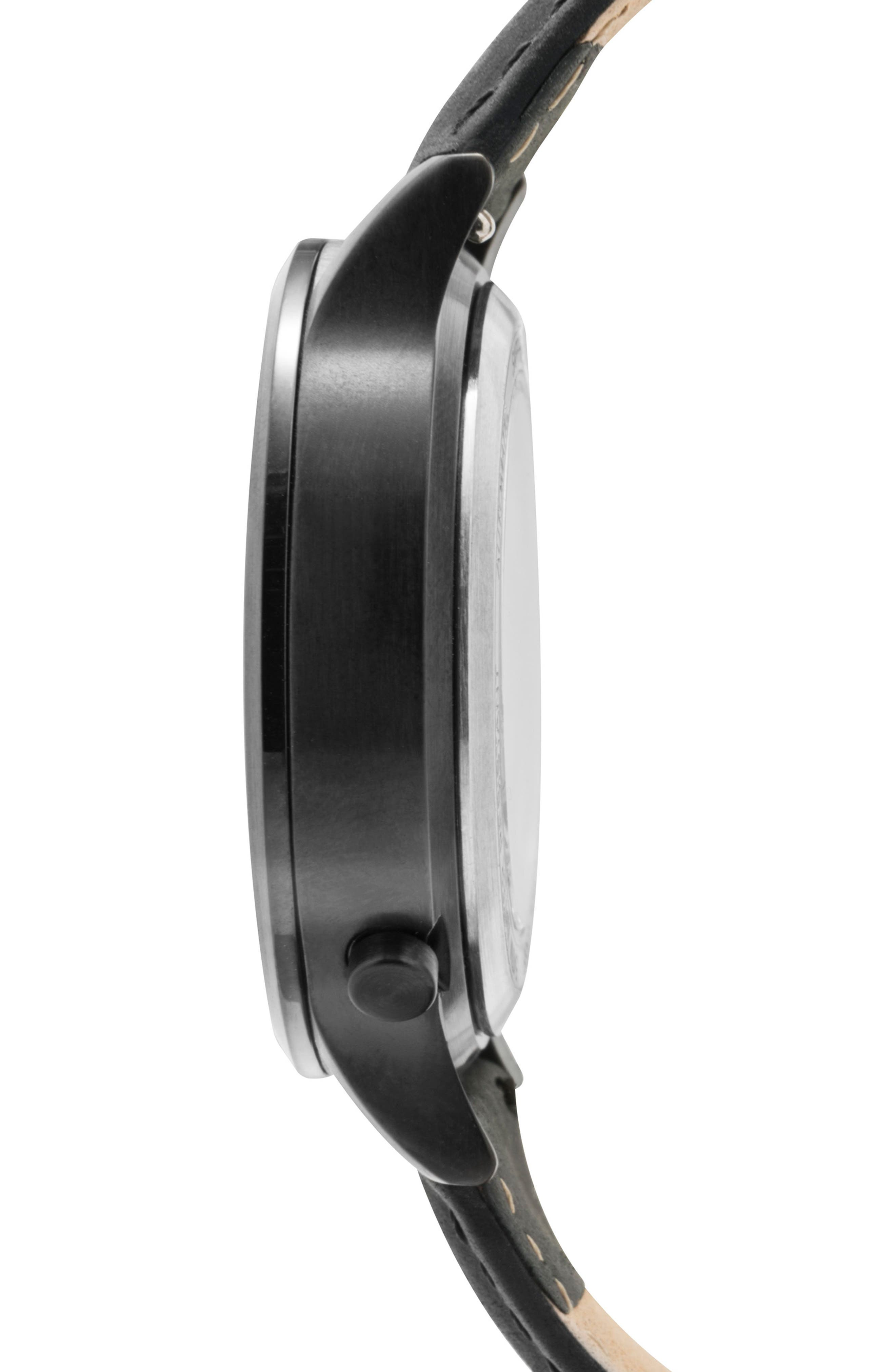 Leonard & Church Sullivan Automatic Suede Strap Watch, 39mm,                             Alternate thumbnail 3, color,                             BLACK