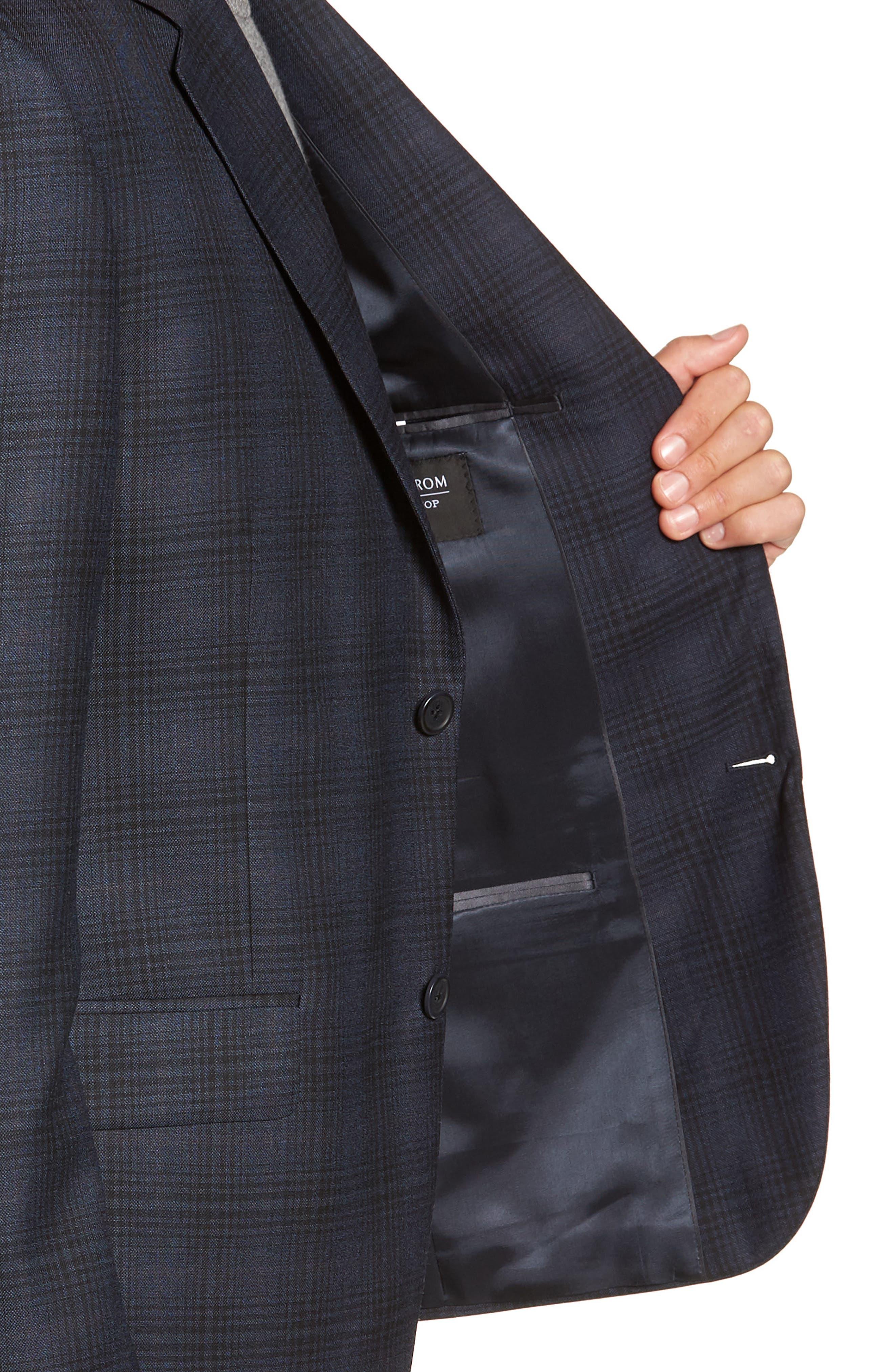 Trim Fit Shadow Plaid Sport Coat,                             Alternate thumbnail 3, color,                             NAVY