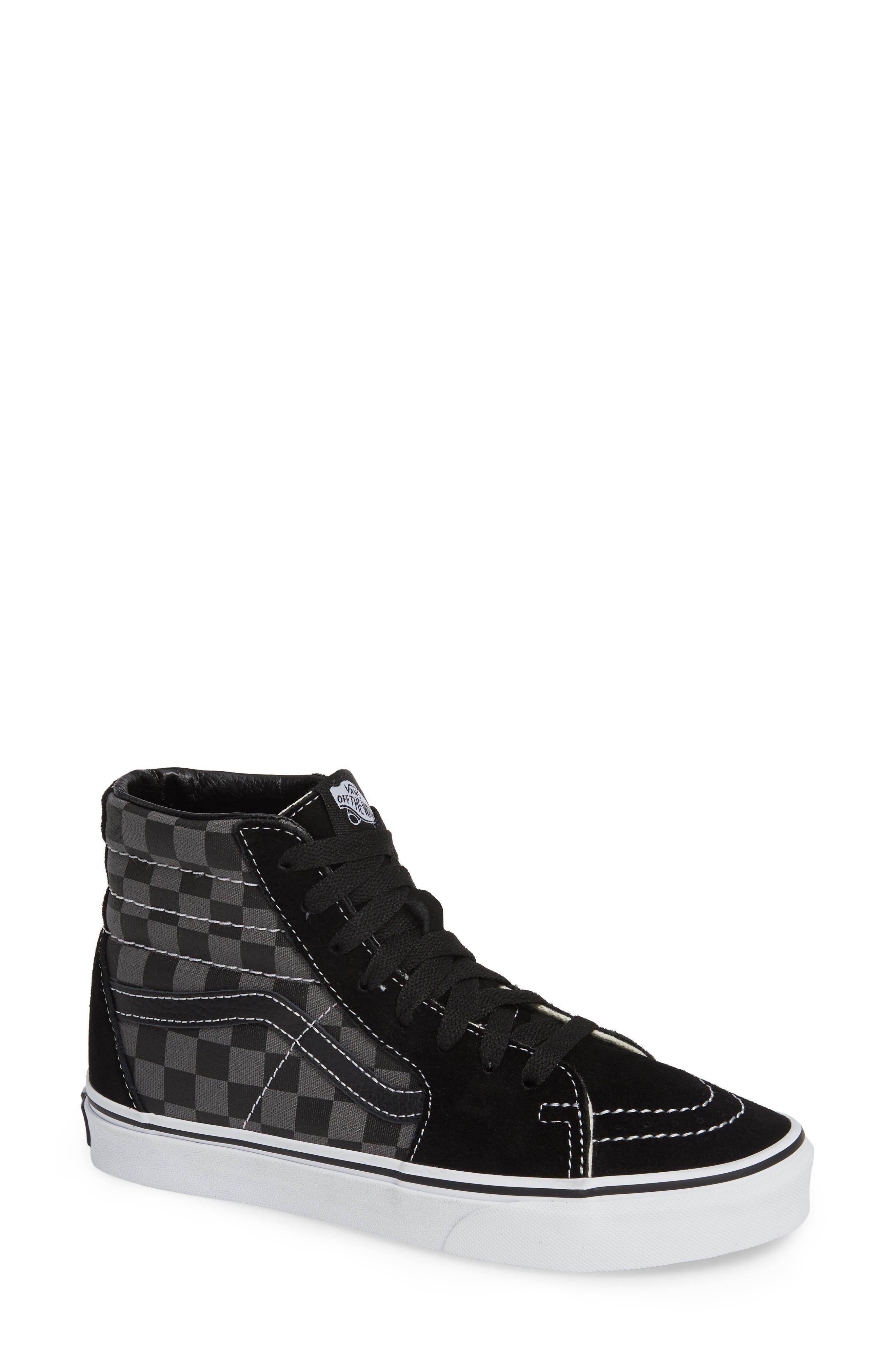 Sk8-Hi Checker Sneaker,                             Main thumbnail 1, color,                             BLACK/ PEWTER CHECKERBOARD