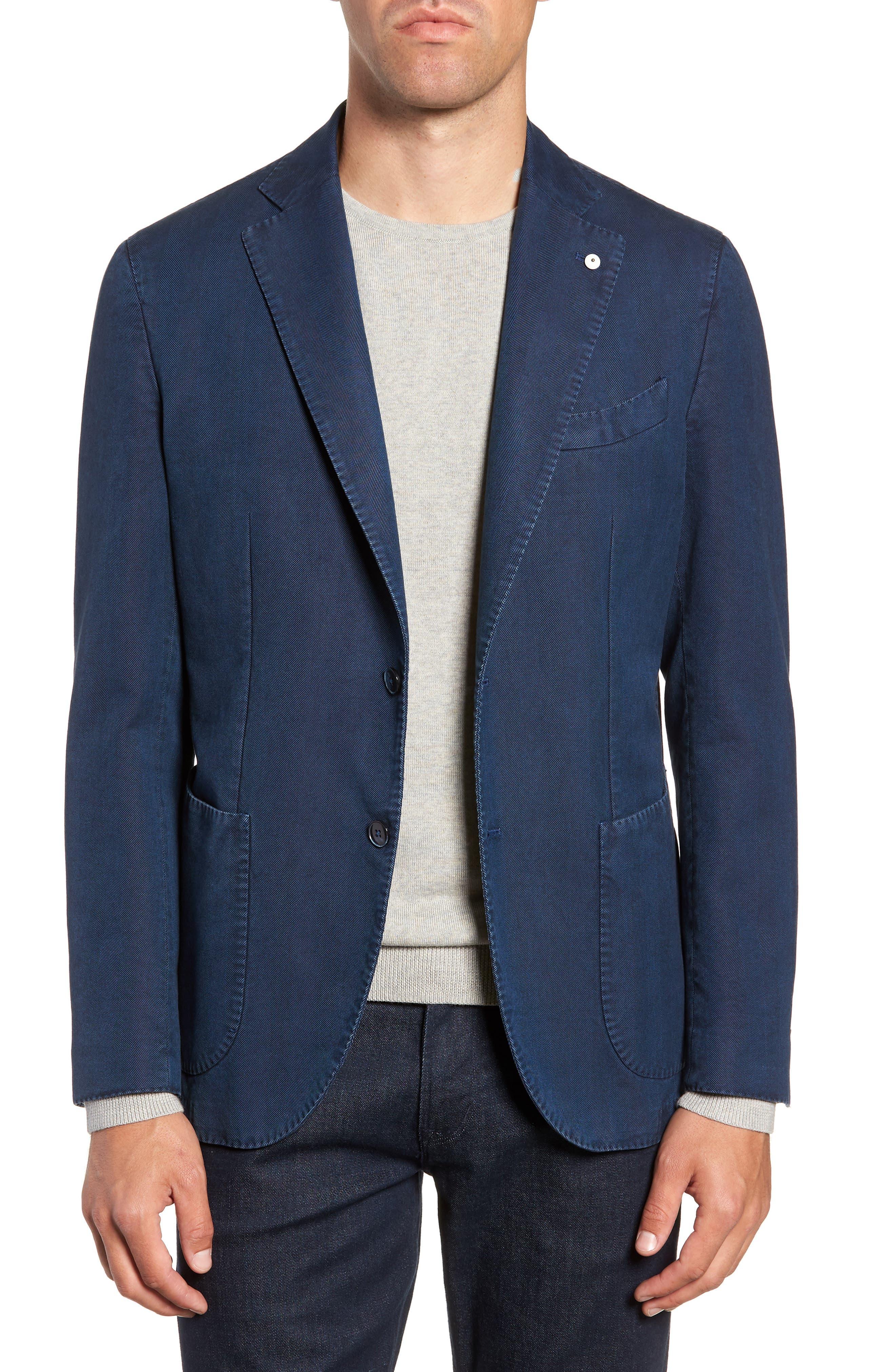 L.B.M L.B.M 1911 Classic Fit Herringbone Cotton Sport Coat in Blue