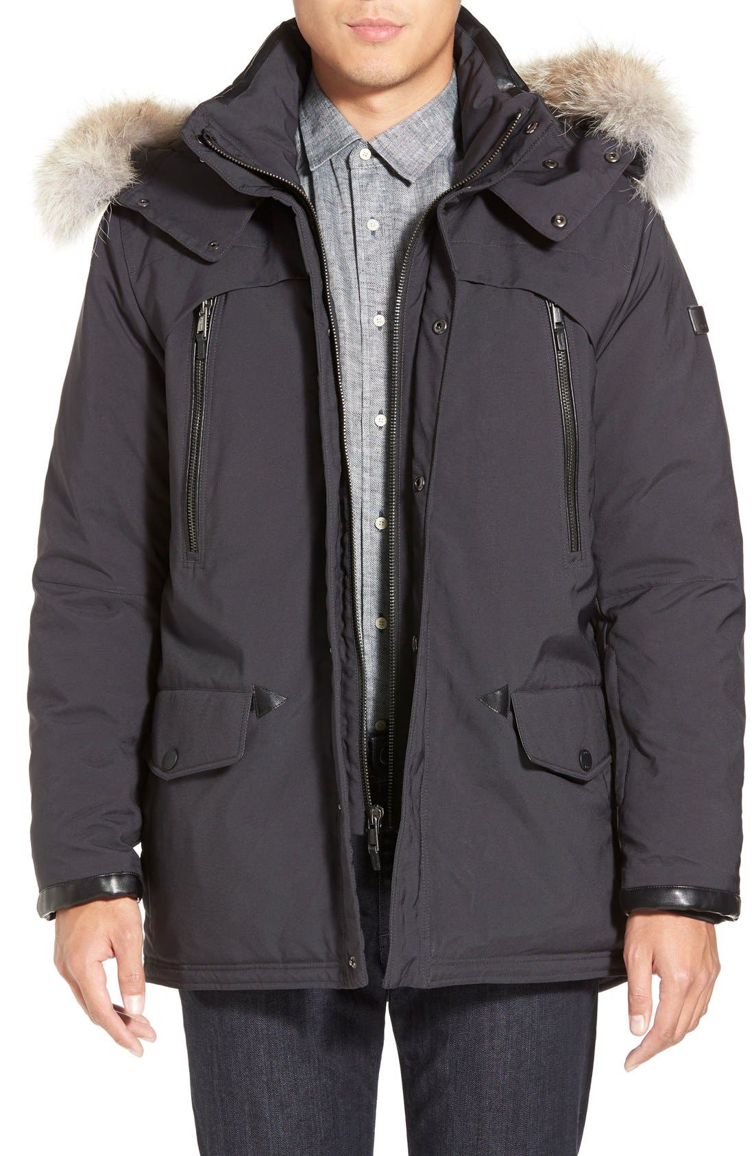 TUMI 'Fully Loaded' Parka with Genuine Coyote Fur Trim, Main, color, 021