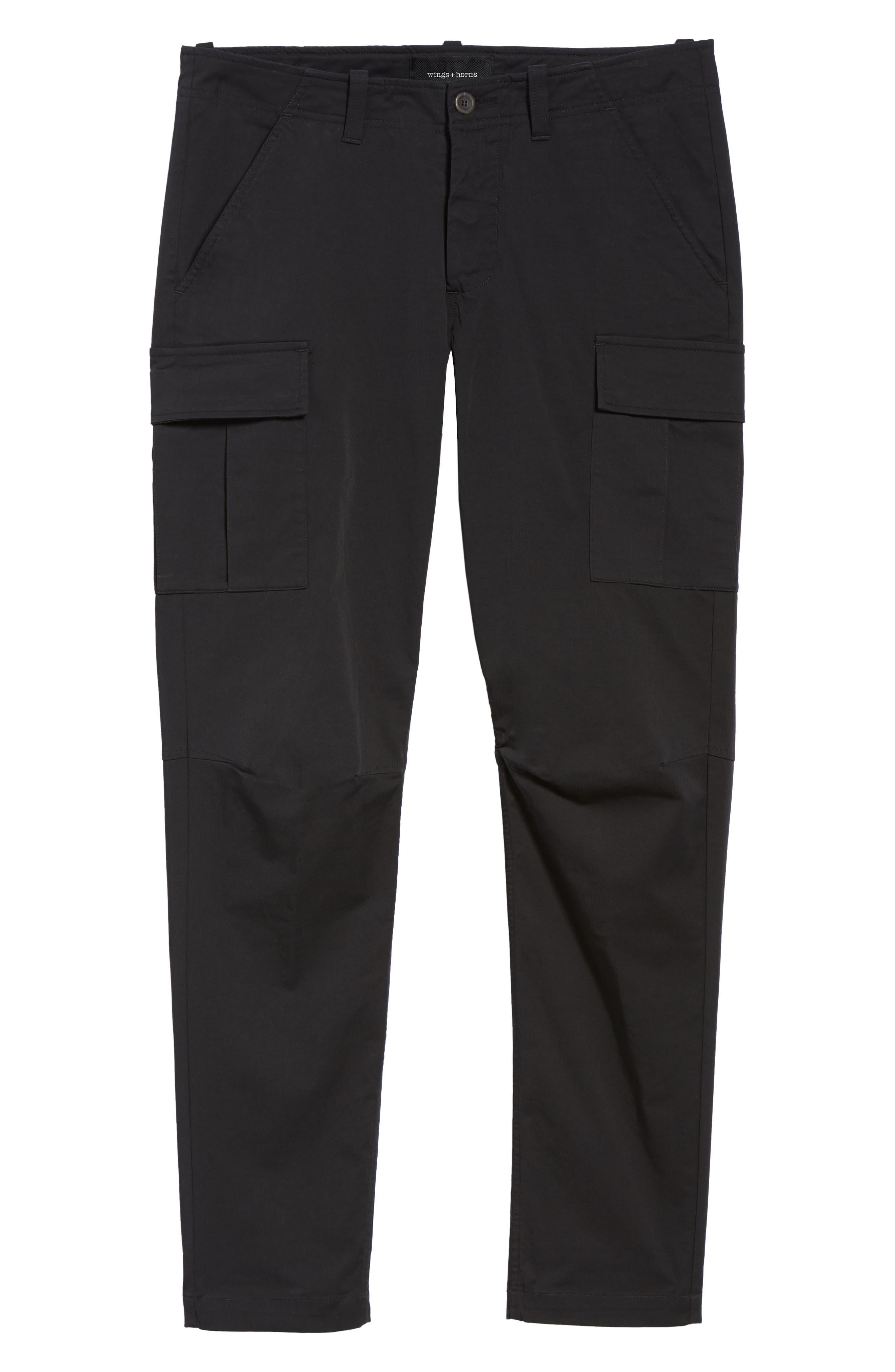 Cordura Slim Fit Cargo Pants,                             Alternate thumbnail 6, color,                             BLACK