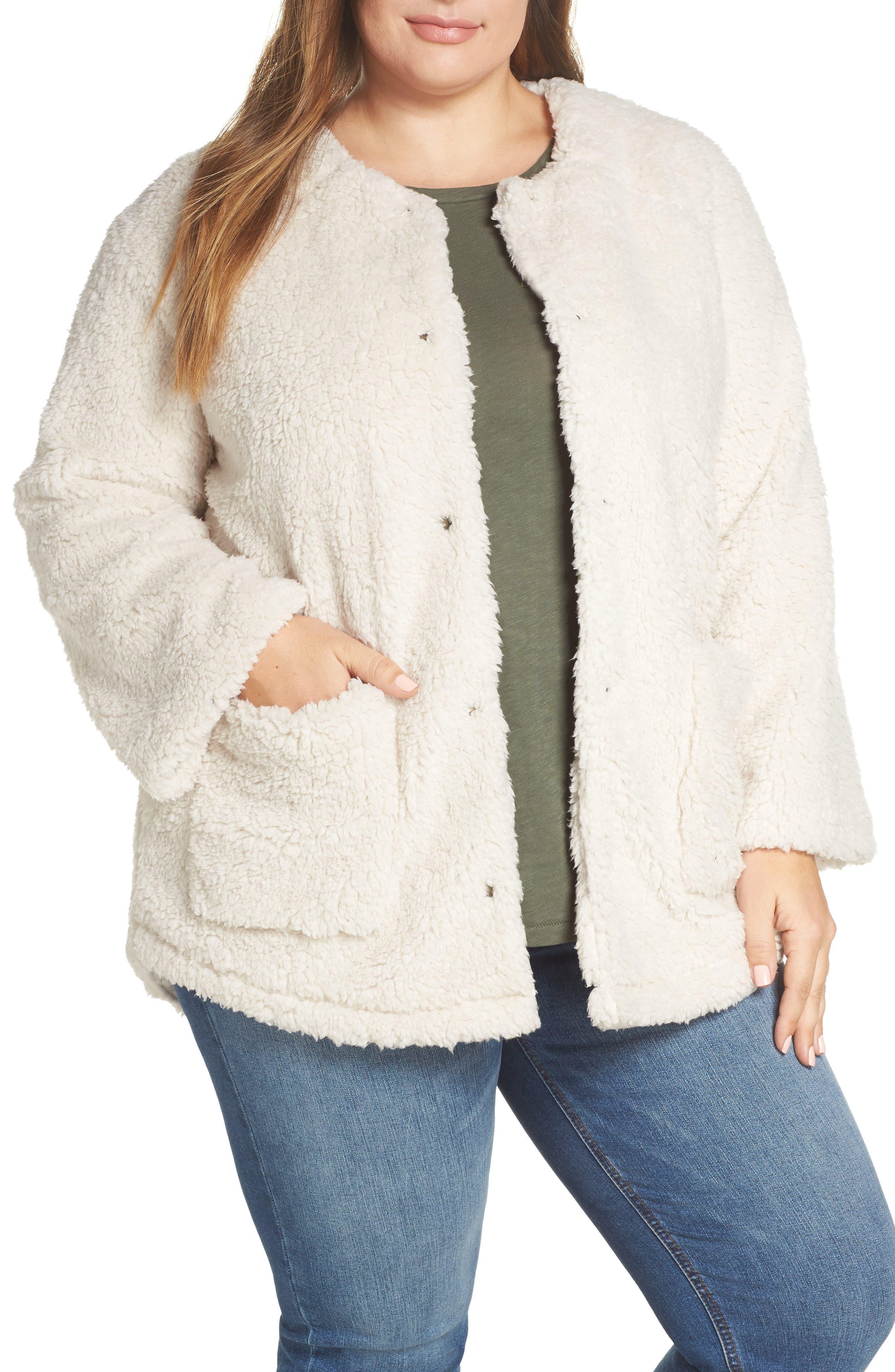 Plus Size Caslon Fuzzy Fleece Jacket, None