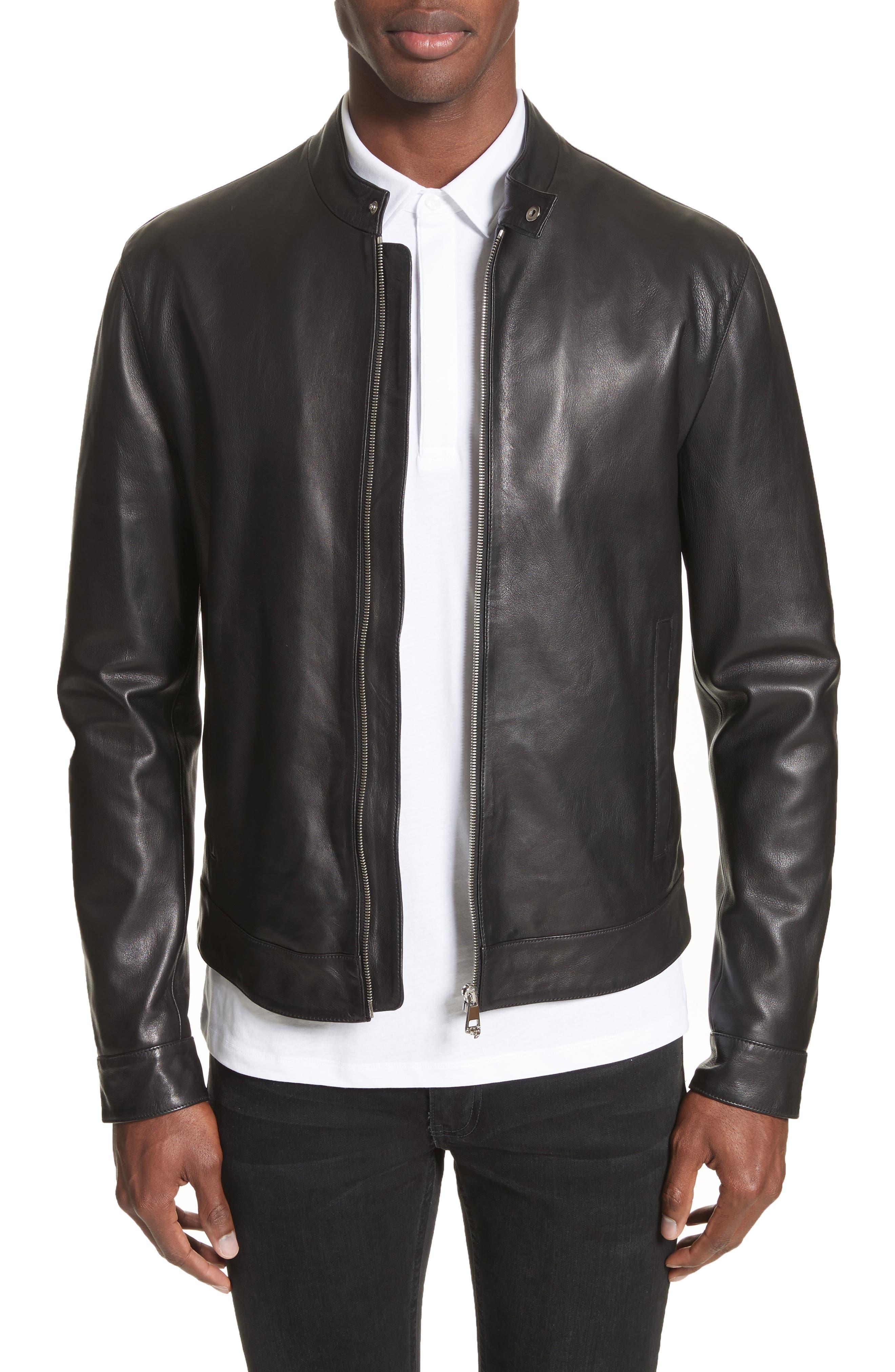 Band Collar Leather Jacket,                             Main thumbnail 1, color,                             130